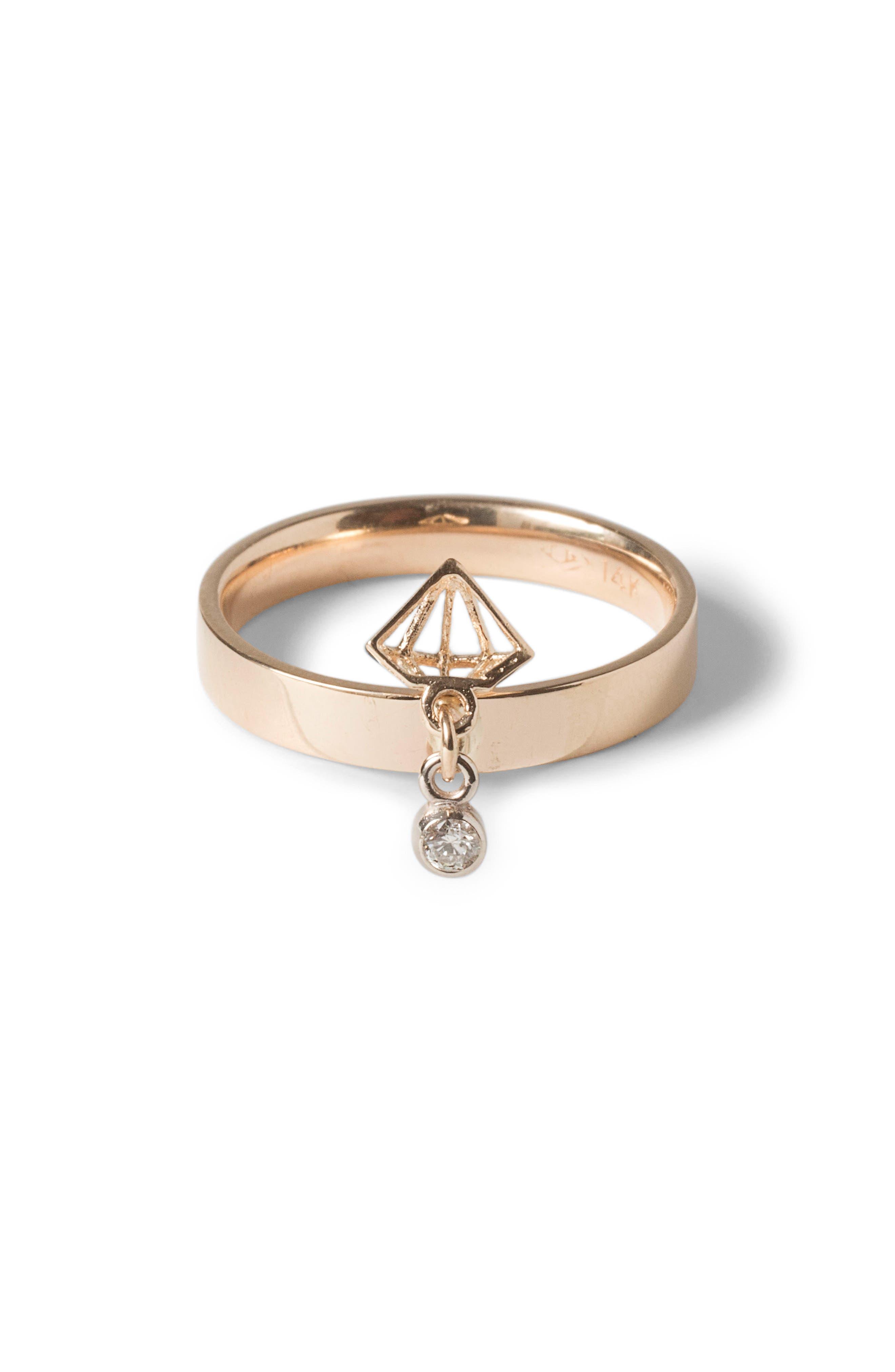Hidden Diamond Dangle Ring,                         Main,                         color, Yellow Gold