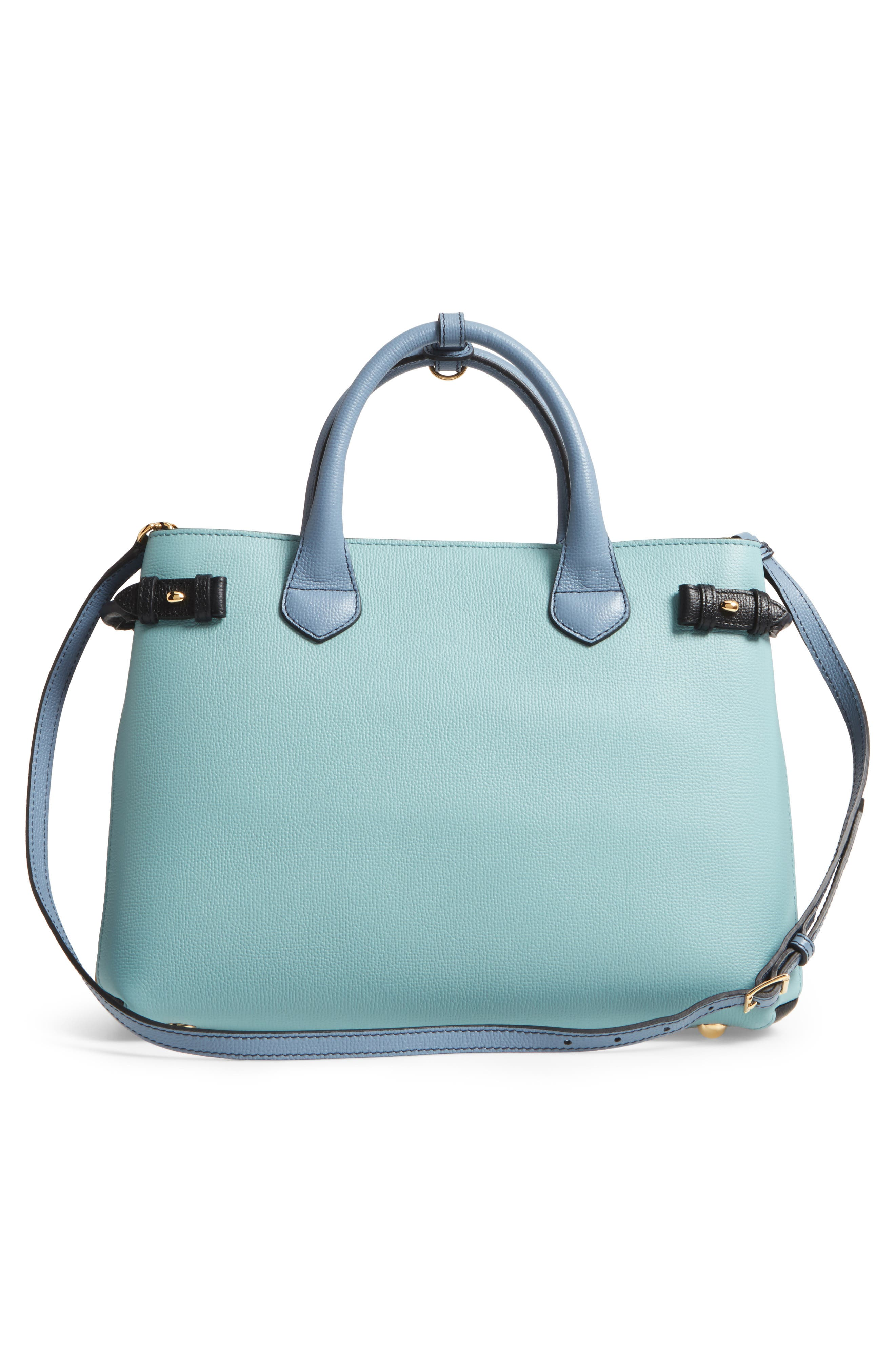Medium Banner House Check & Leather Tote,                             Alternate thumbnail 2, color,                             Pale Opal/Slate Blue