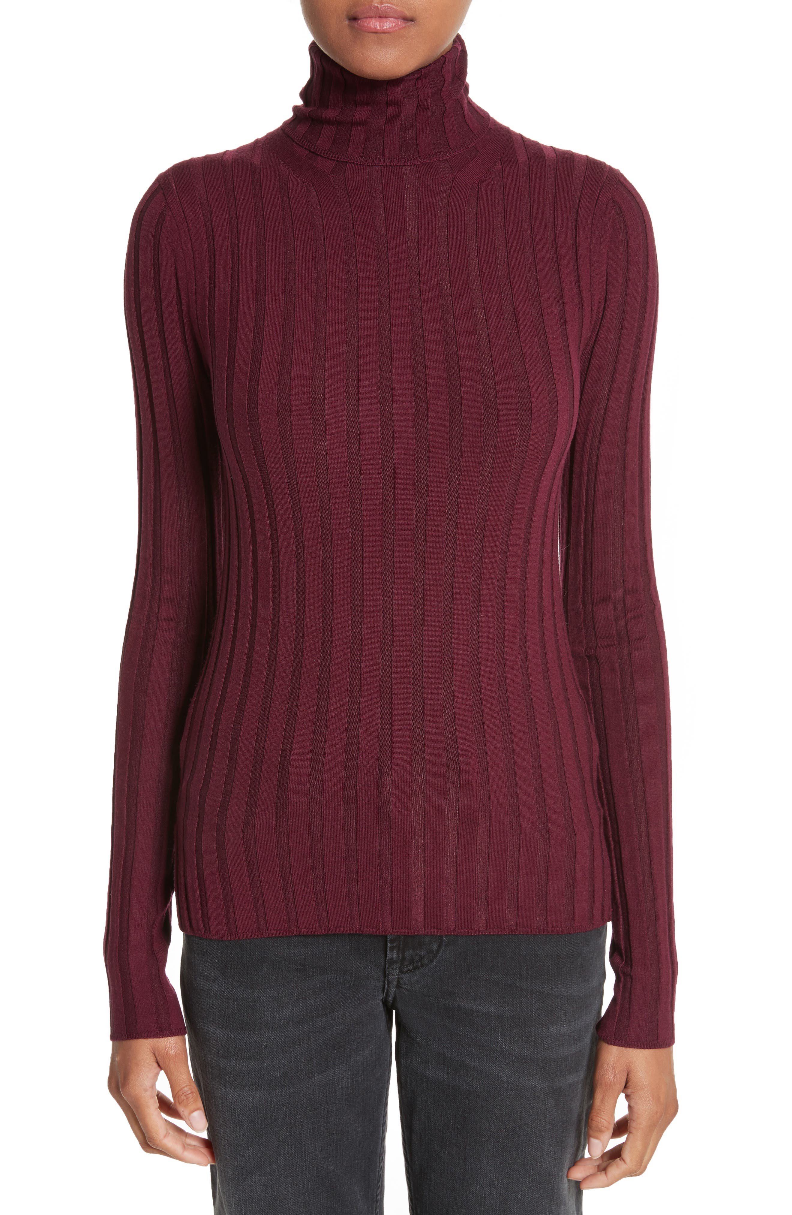 Corina Fitted Turtleneck Sweater,                         Main,                         color, Burgundy