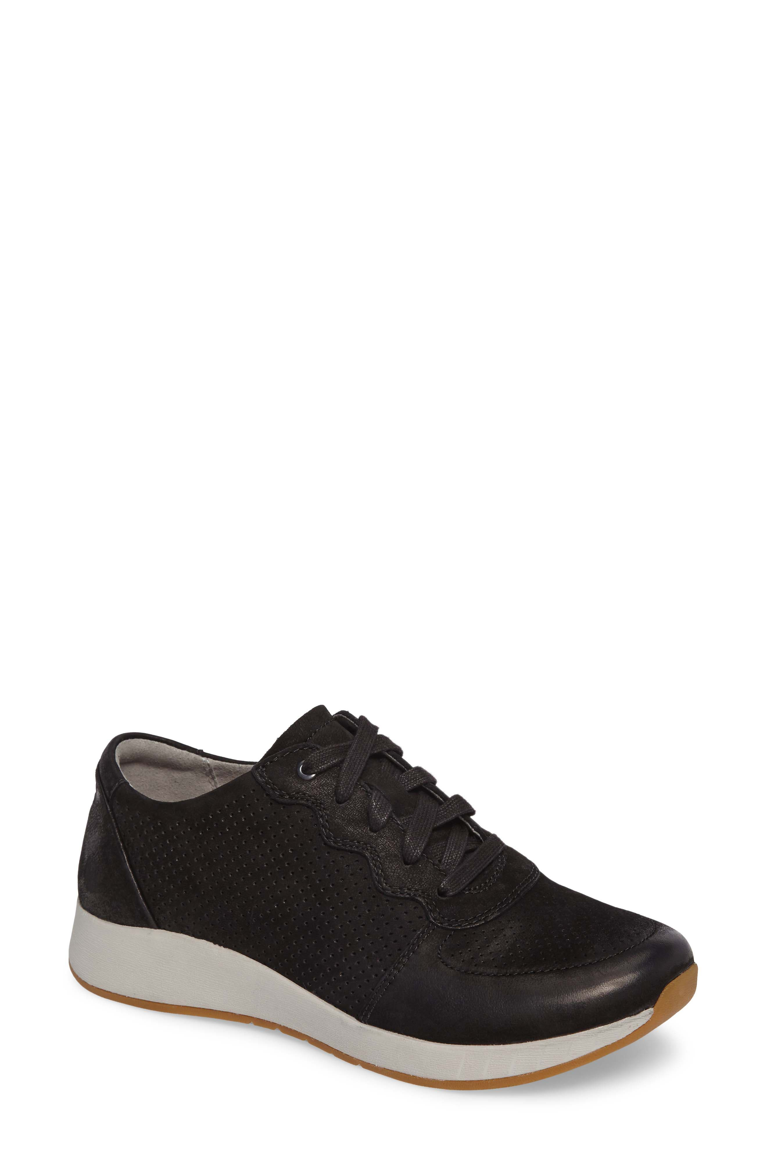 Christina Sneaker,                             Main thumbnail 1, color,                             Black Nubuck Leather