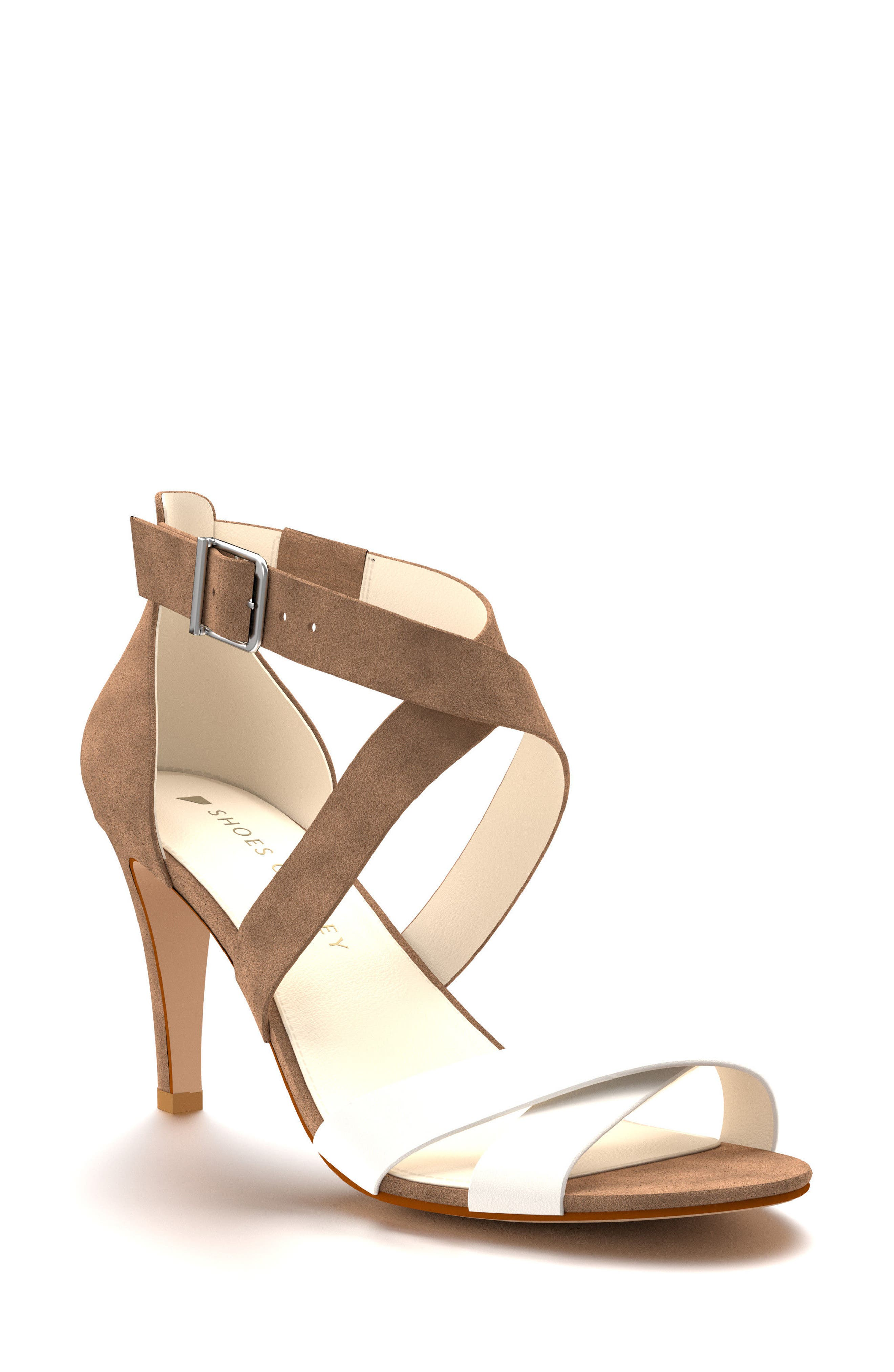 Crisscross Strappy Sandal,                             Main thumbnail 1, color,                             Tan Suede