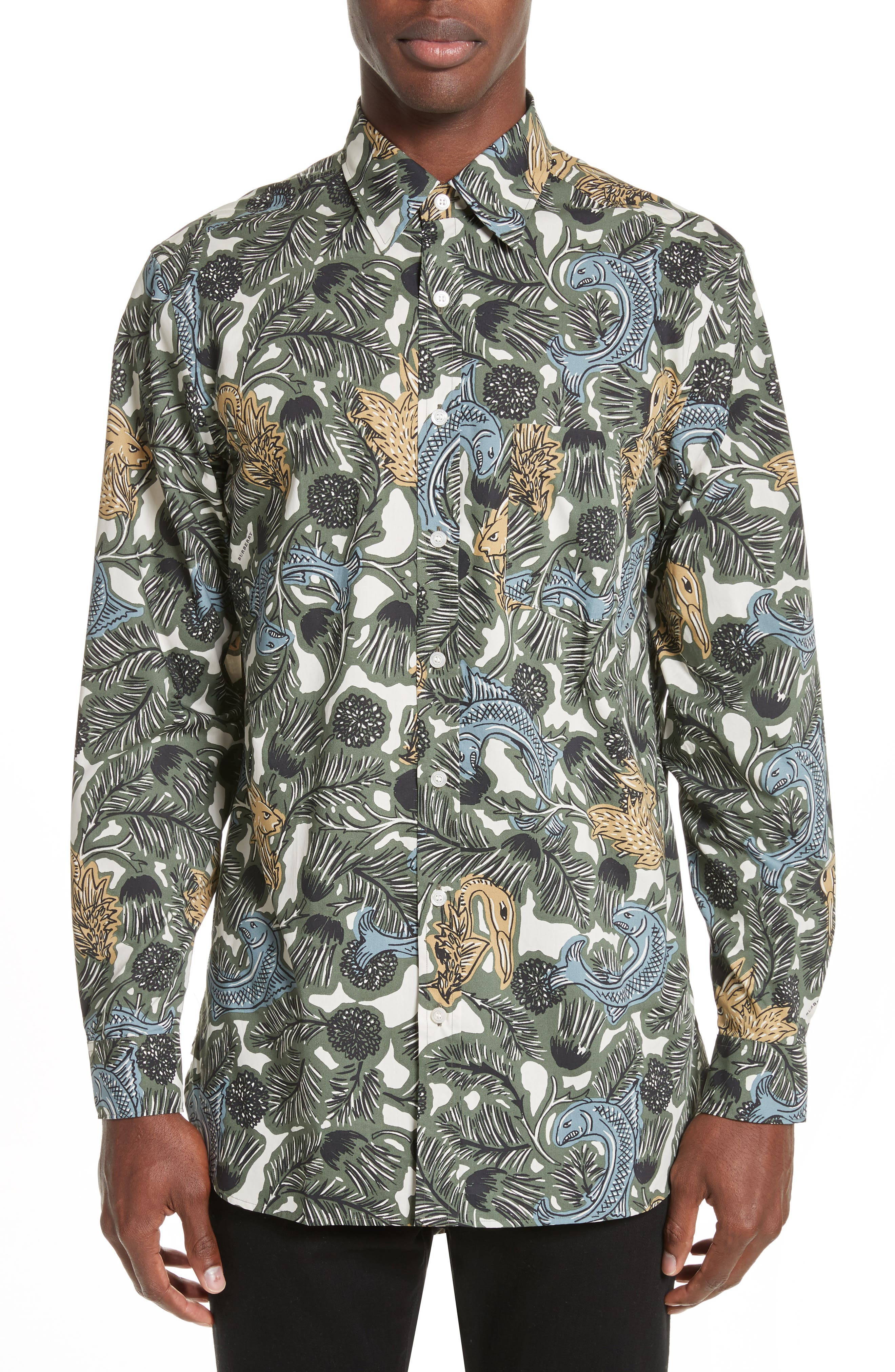 Main Image - Burberry Whinfell Beasts Cotton Sport Shirt
