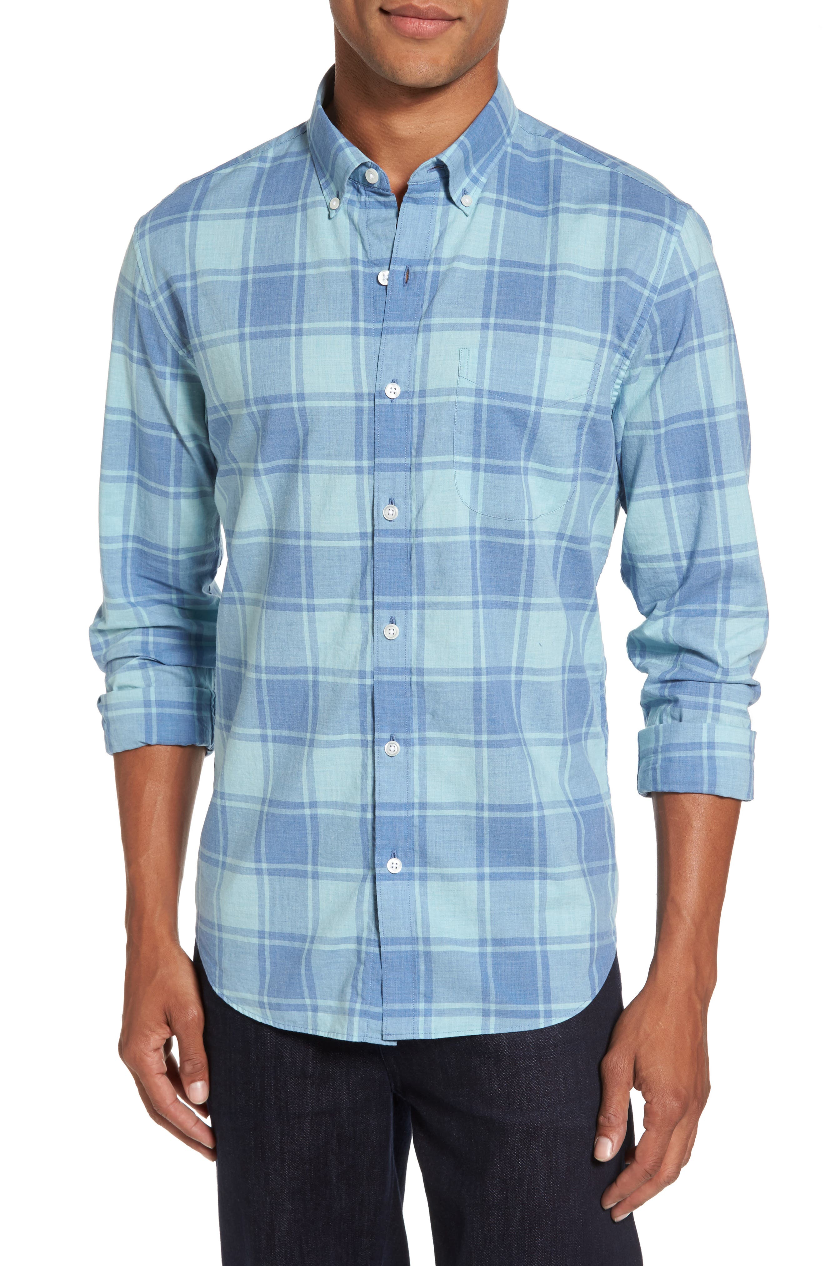 Summerweight Slim Cut Large Check Sport Shirt,                         Main,                         color, Heather Blue Plaid