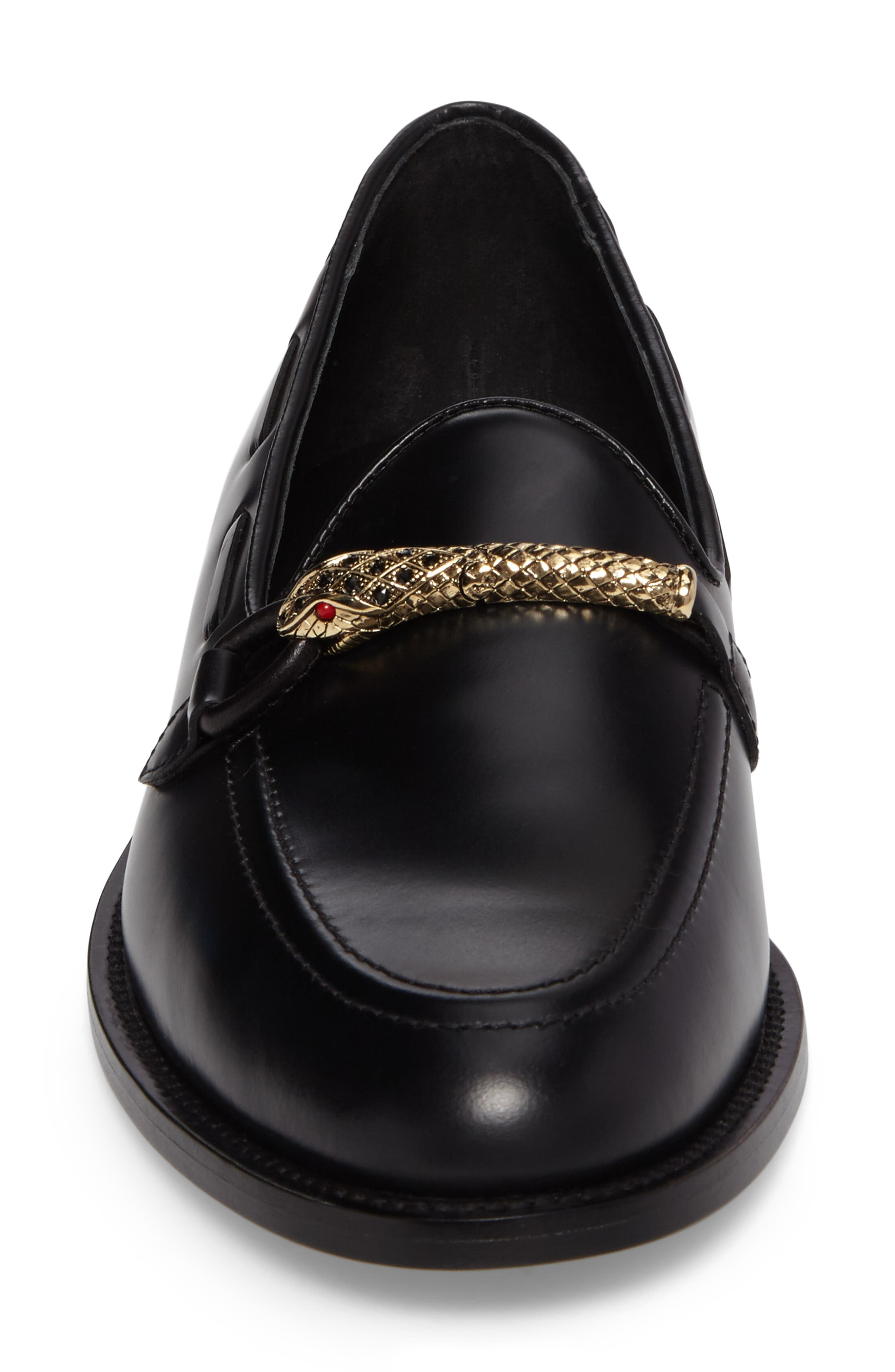 Serpent Bit Loafer,                             Alternate thumbnail 4, color,                             Nero Leather