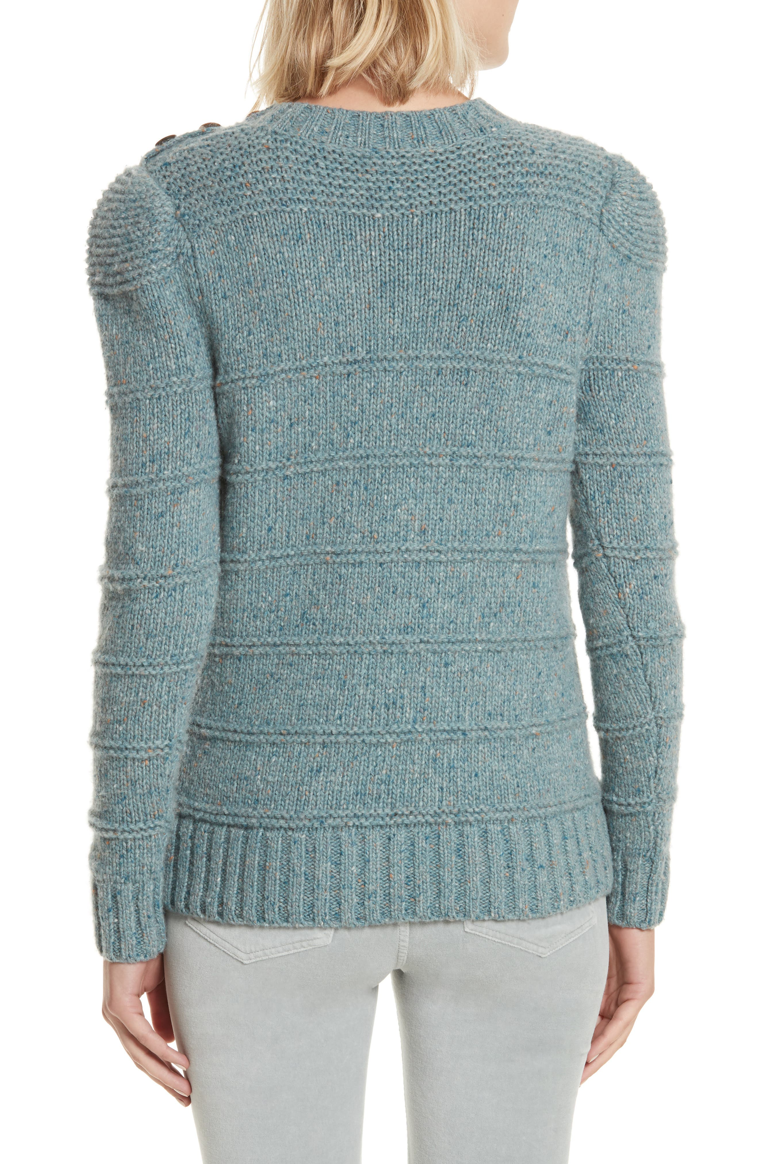 Donegal Tweed Pullover,                             Alternate thumbnail 2, color,                             Sea Mist