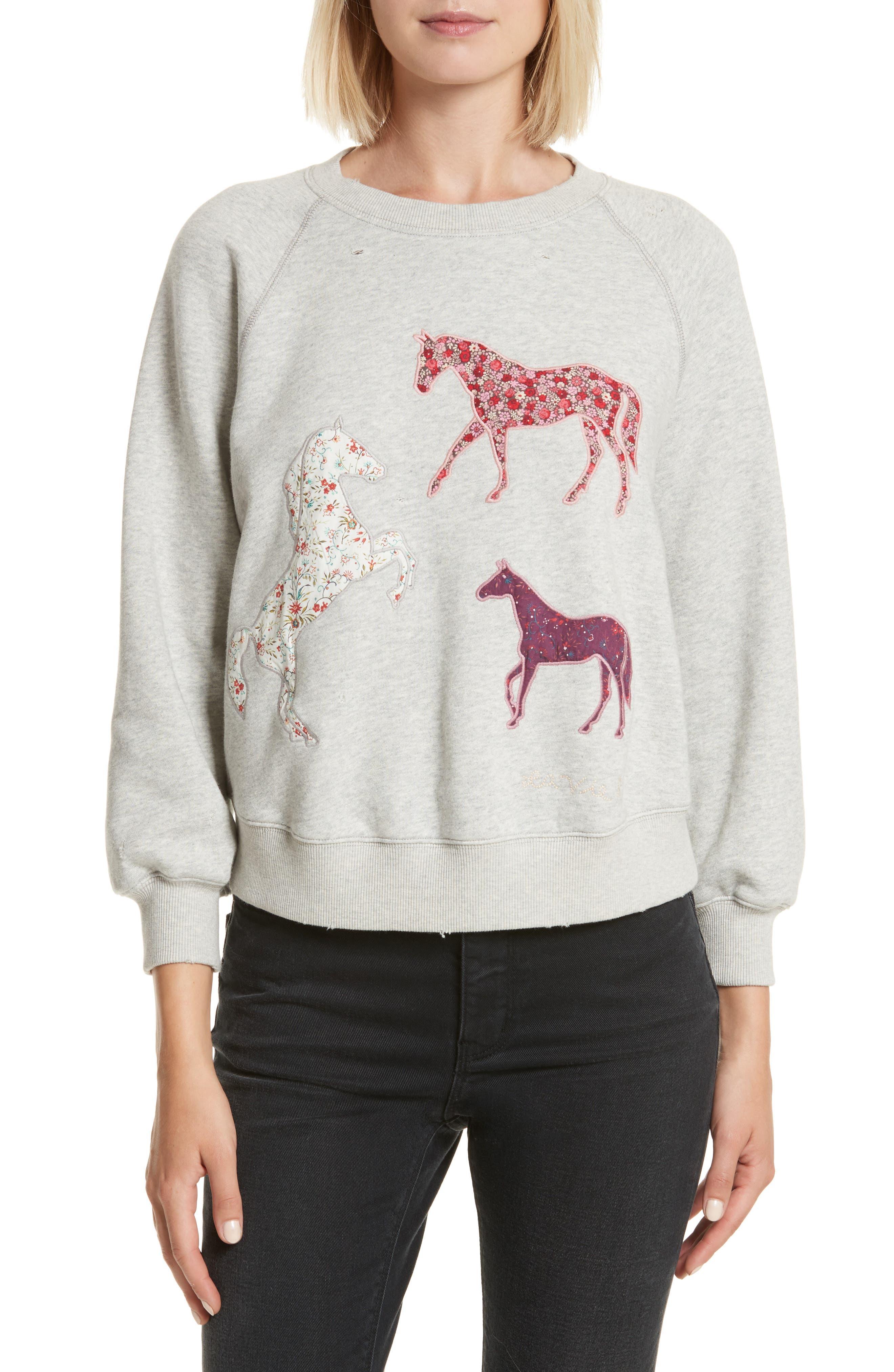 La Vie Rebecca Taylor Appliqué Fleece Sweatshirt