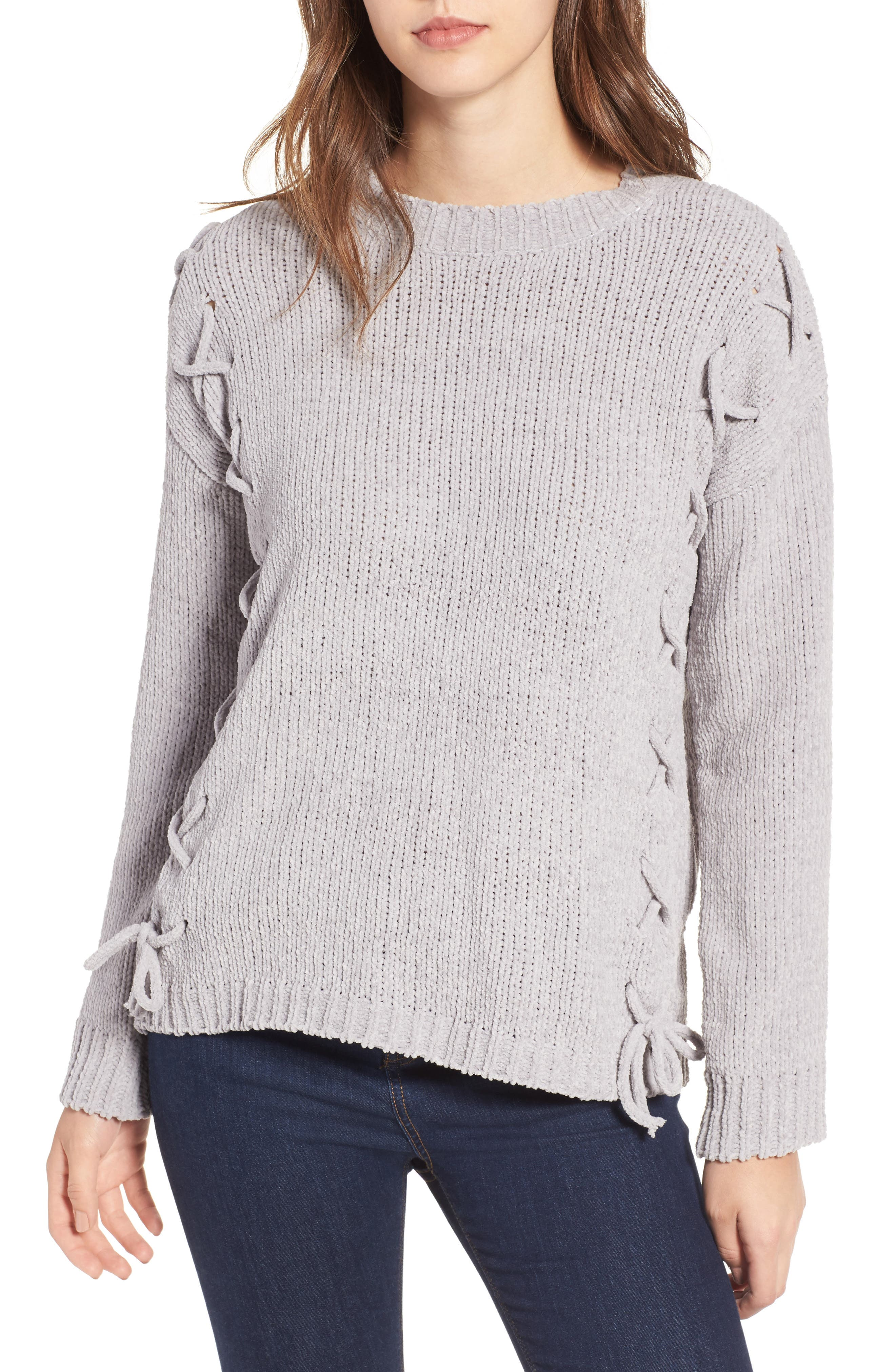 Lace-Up Chenille Pullover,                         Main,                         color, Grey