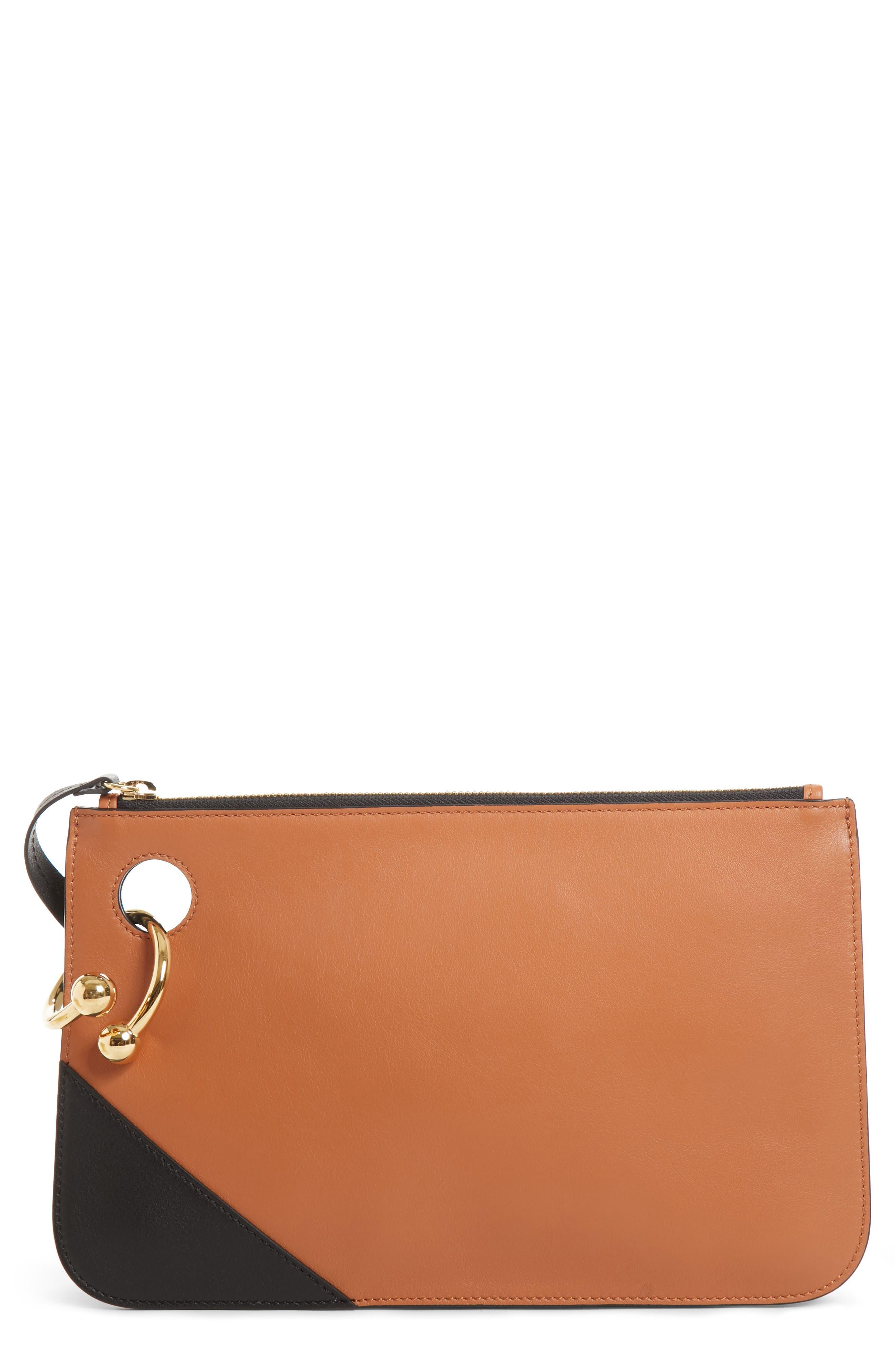 J.W.ANDERSON Pierce Colorblock Leather Clutch,                         Main,                         color, Tan/Black