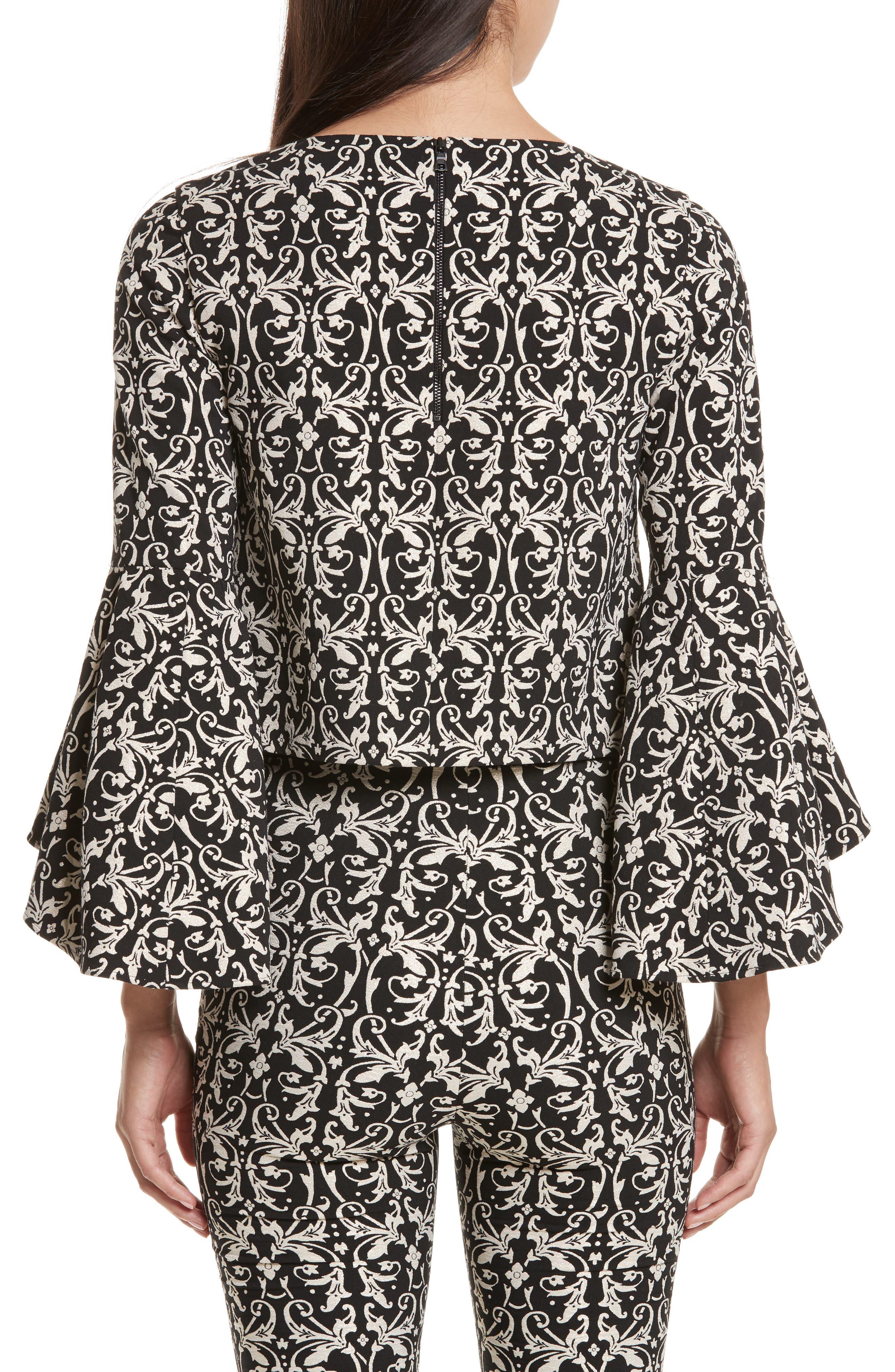 Alternate Image 3  - Alice + Olivia Baska Bell Sleeve Blouse