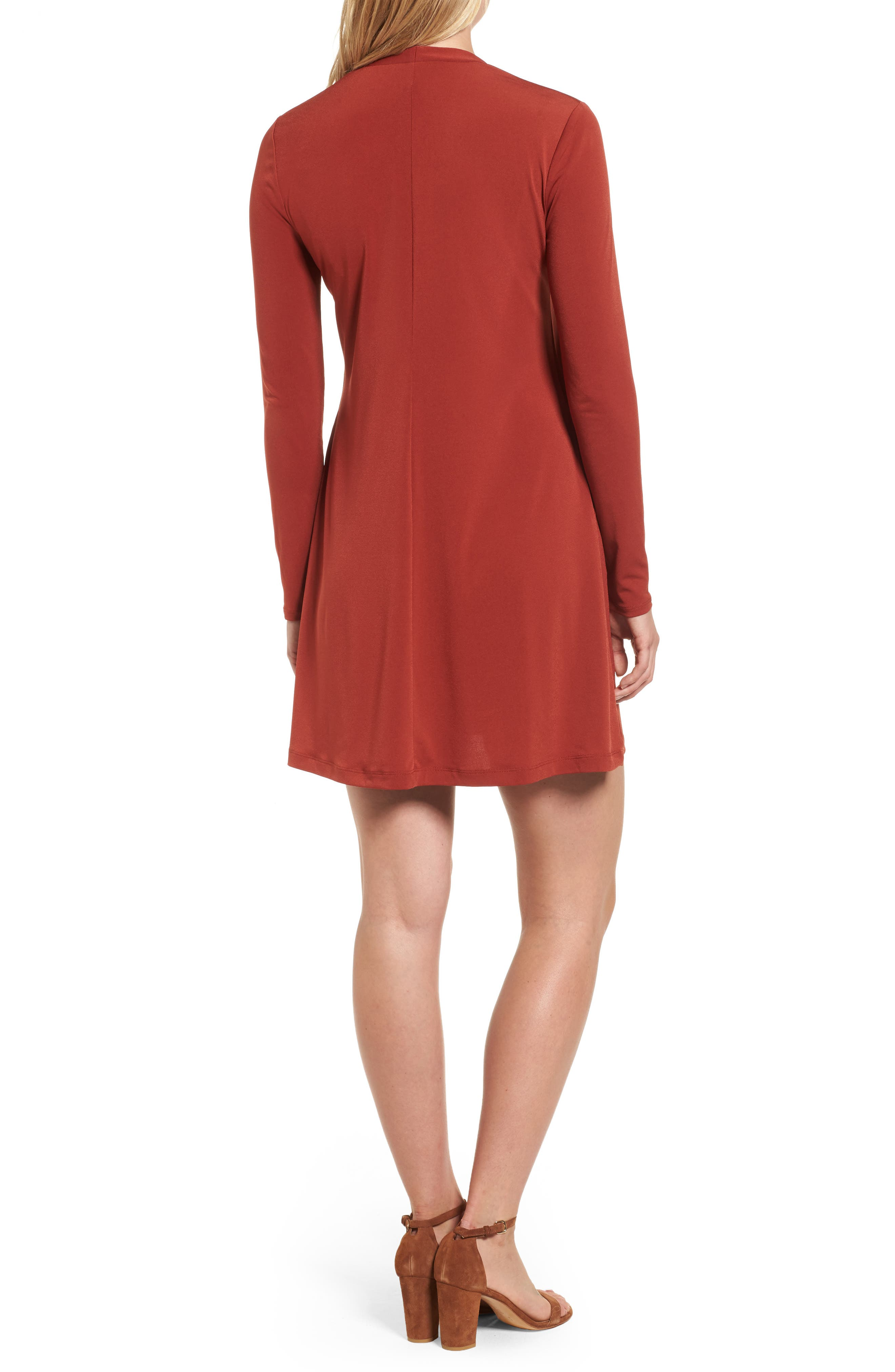 V-Neck A-Line Dress,                             Alternate thumbnail 2, color,                             Red Clay