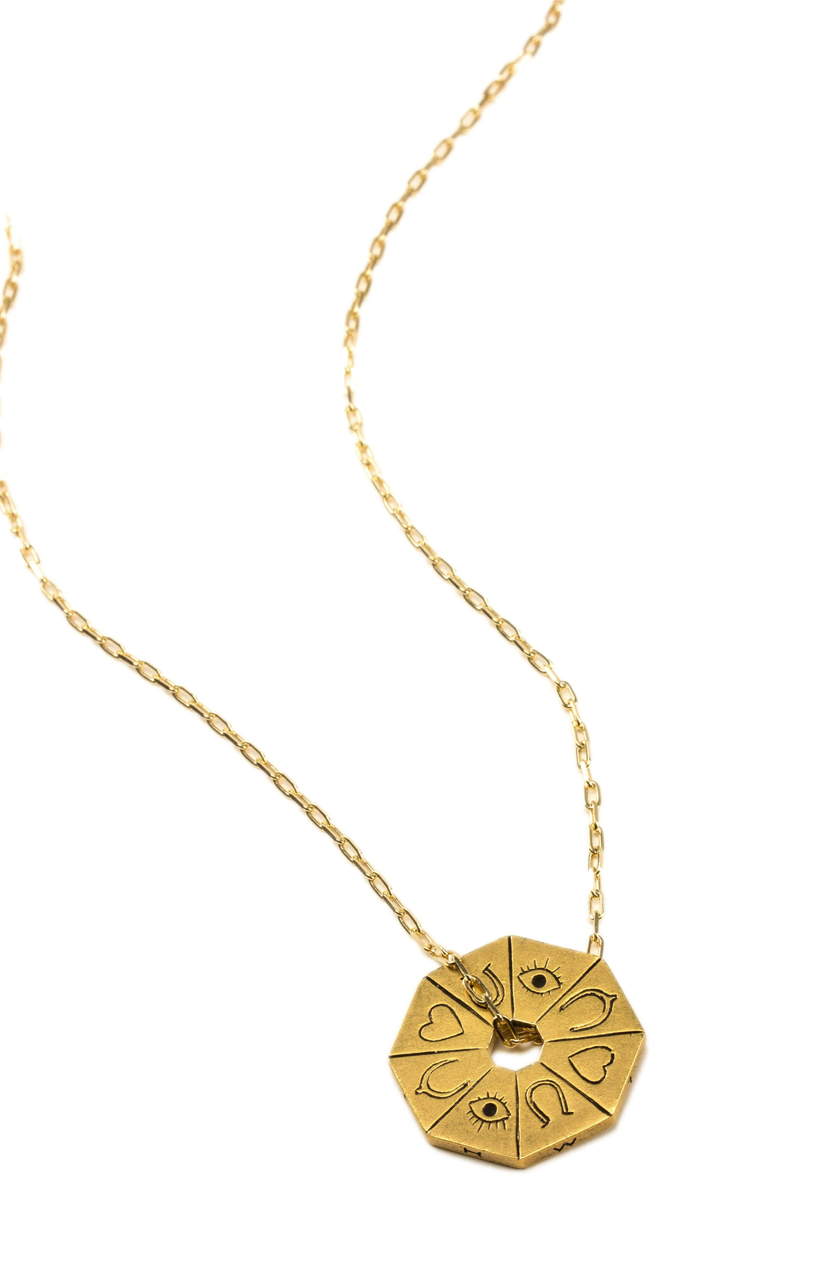 Petalbox Wish Spinner Pendant Necklace,                             Alternate thumbnail 2, color,                             Gold