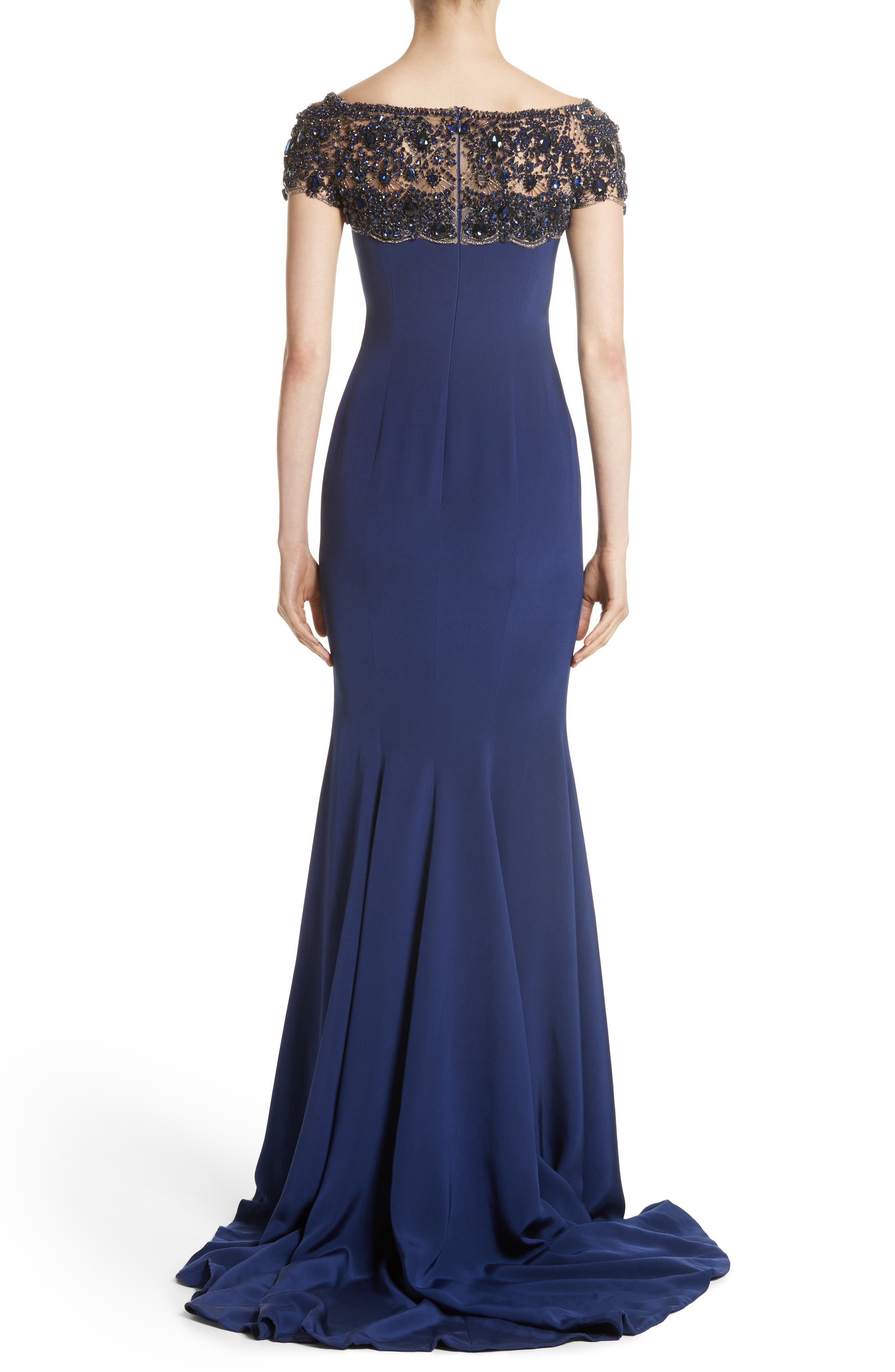 Alternate Image 3  - Marchesa Embellished Bodice Silk Mermaid Gown