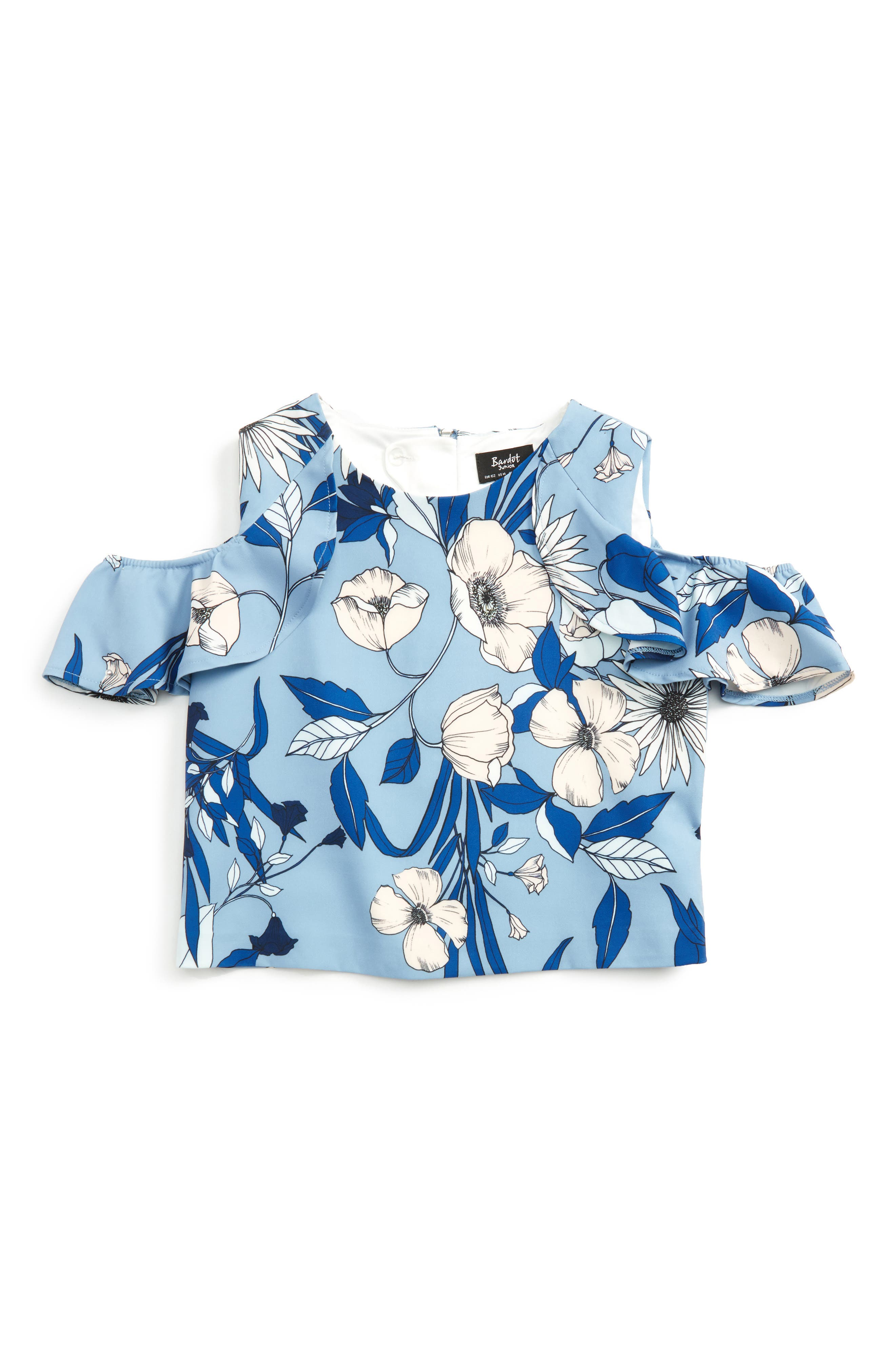 Main Image - Bardot Junior Maia Floral Cold Shoulder Top (Little Girls)