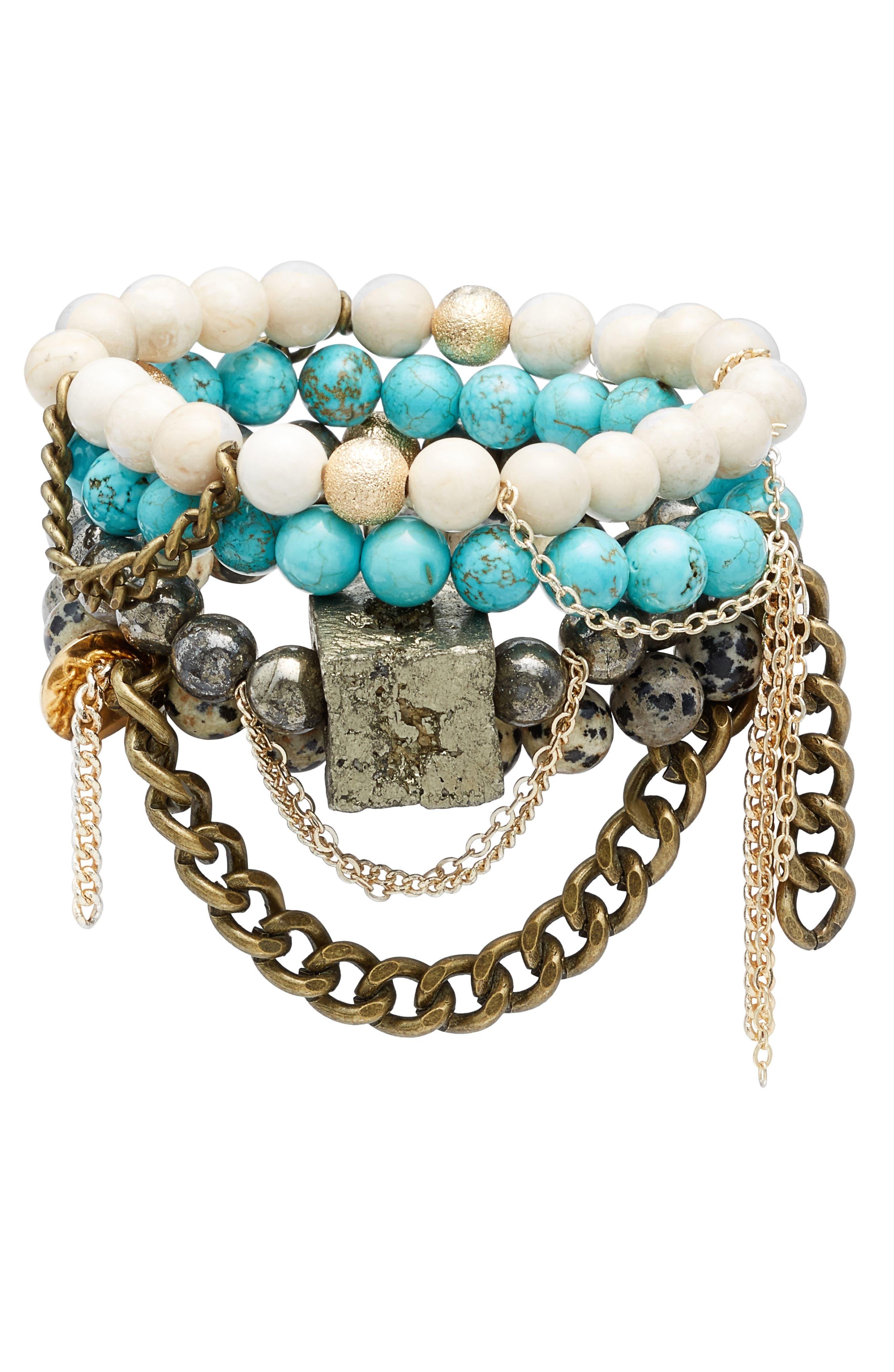 THE LACE PROJECT Set of 4 Bead Stretch Bracelets