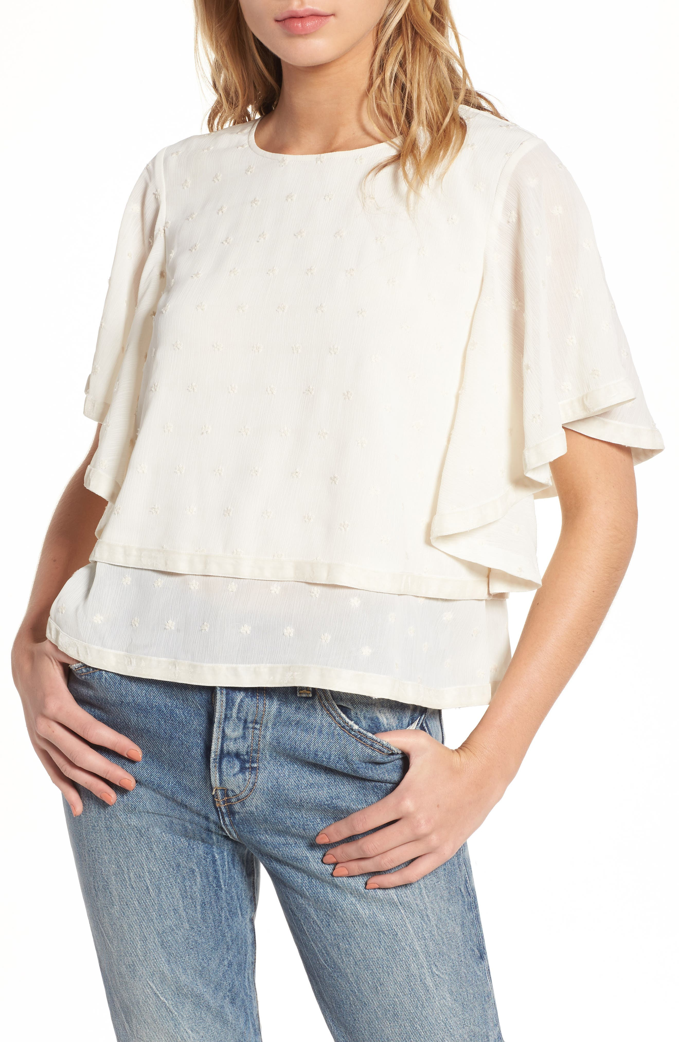 Cape Sleeve Top,                         Main,                         color, Ivory