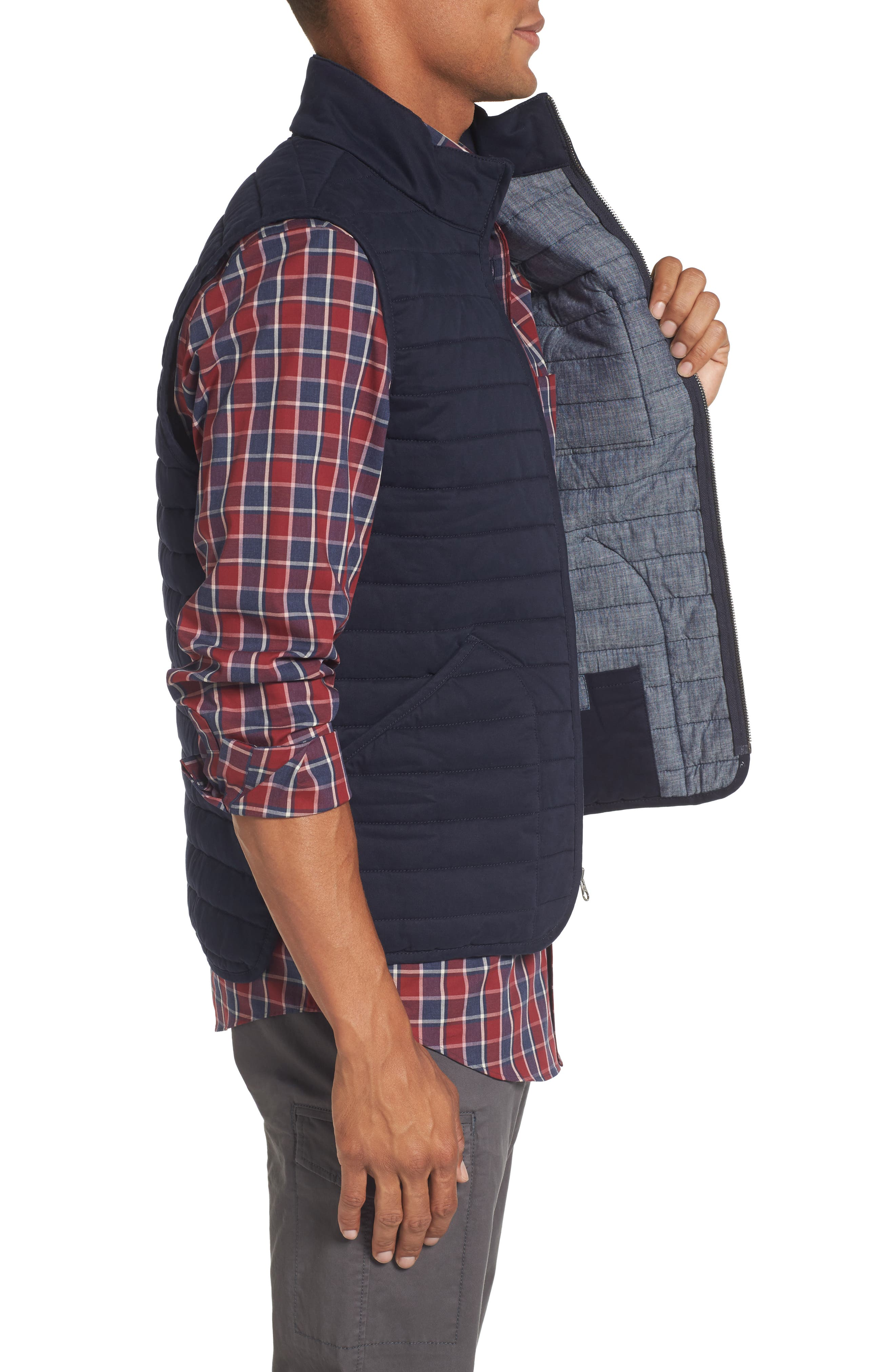 Quilted Twill Vest,                             Alternate thumbnail 3, color,                             Navy Night