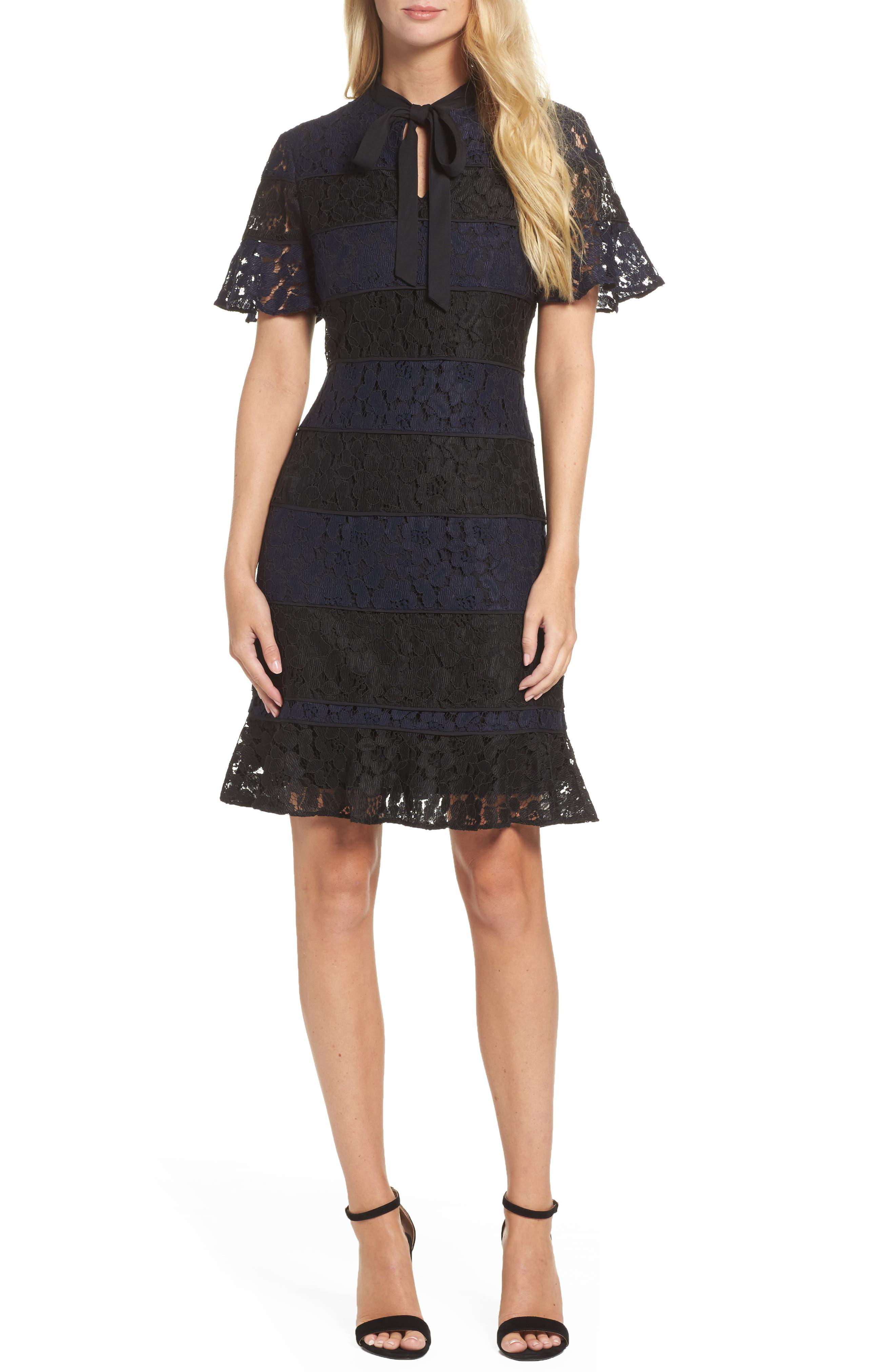 Lace Fit & Flare Dress,                         Main,                         color, Navy/ Black