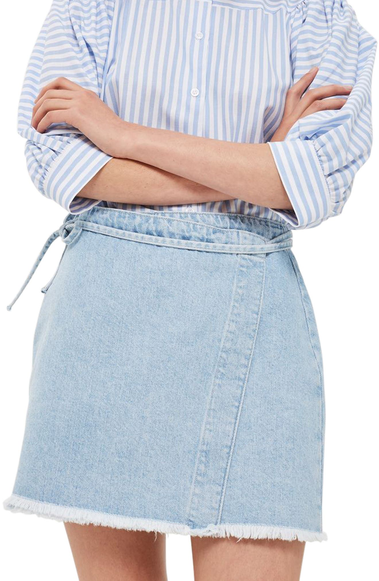 Topshop Tie Wrap Denim Skirt