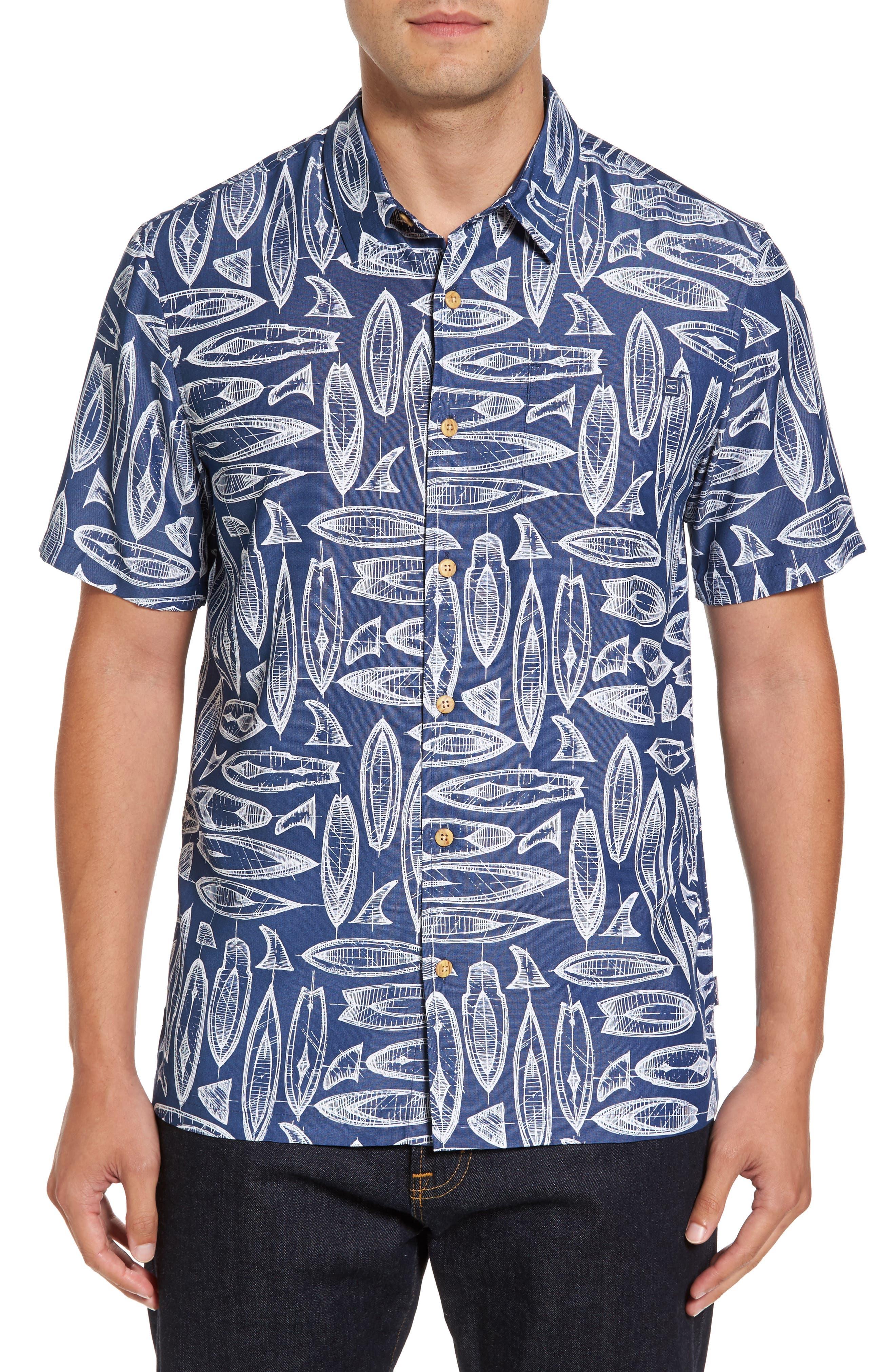 Waveriders Print Camp Shirt,                         Main,                         color, Ocean