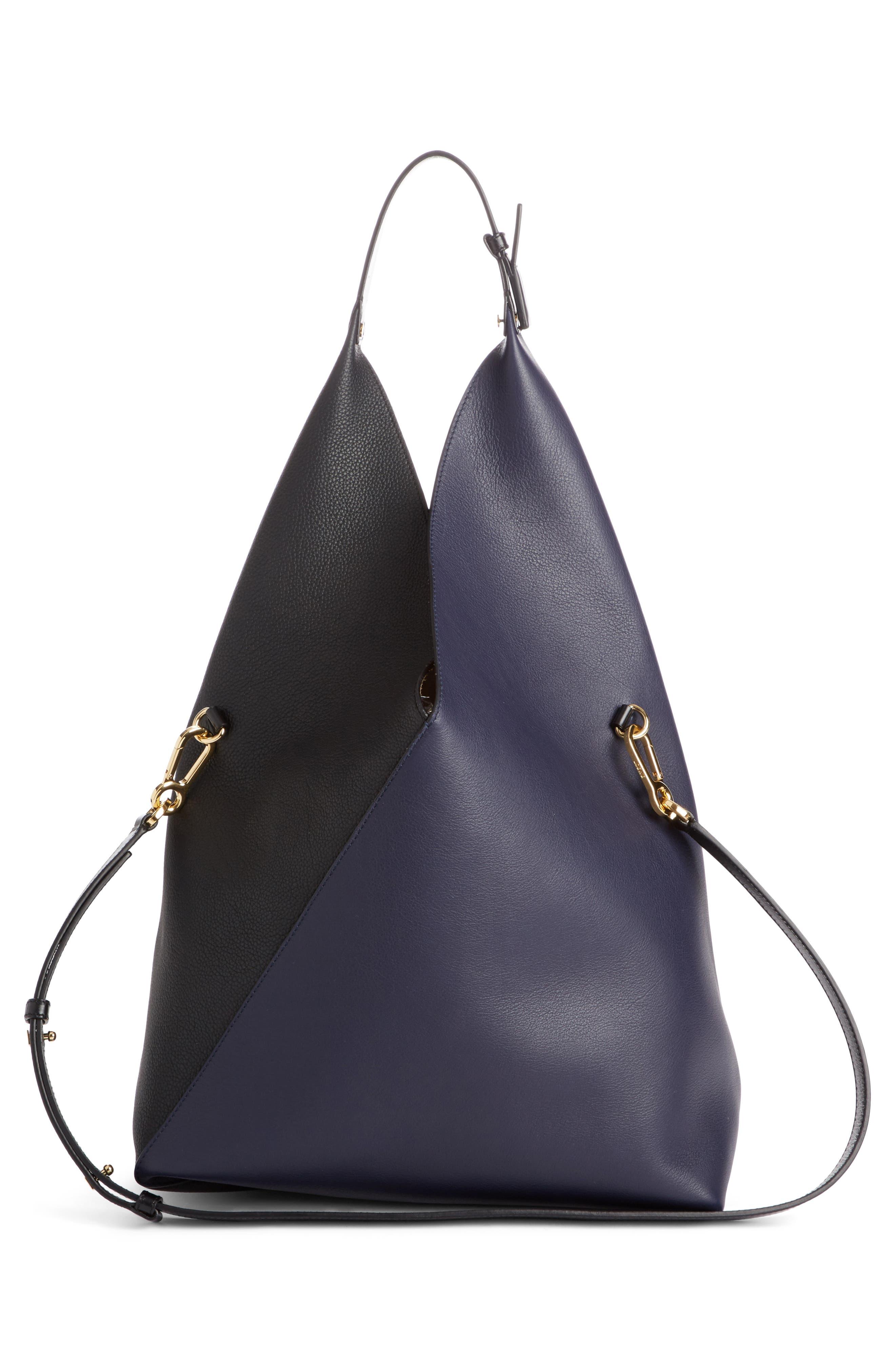 Calfskin Leather Sling Bag,                             Alternate thumbnail 2, color,                             Midnight Blue/ Black