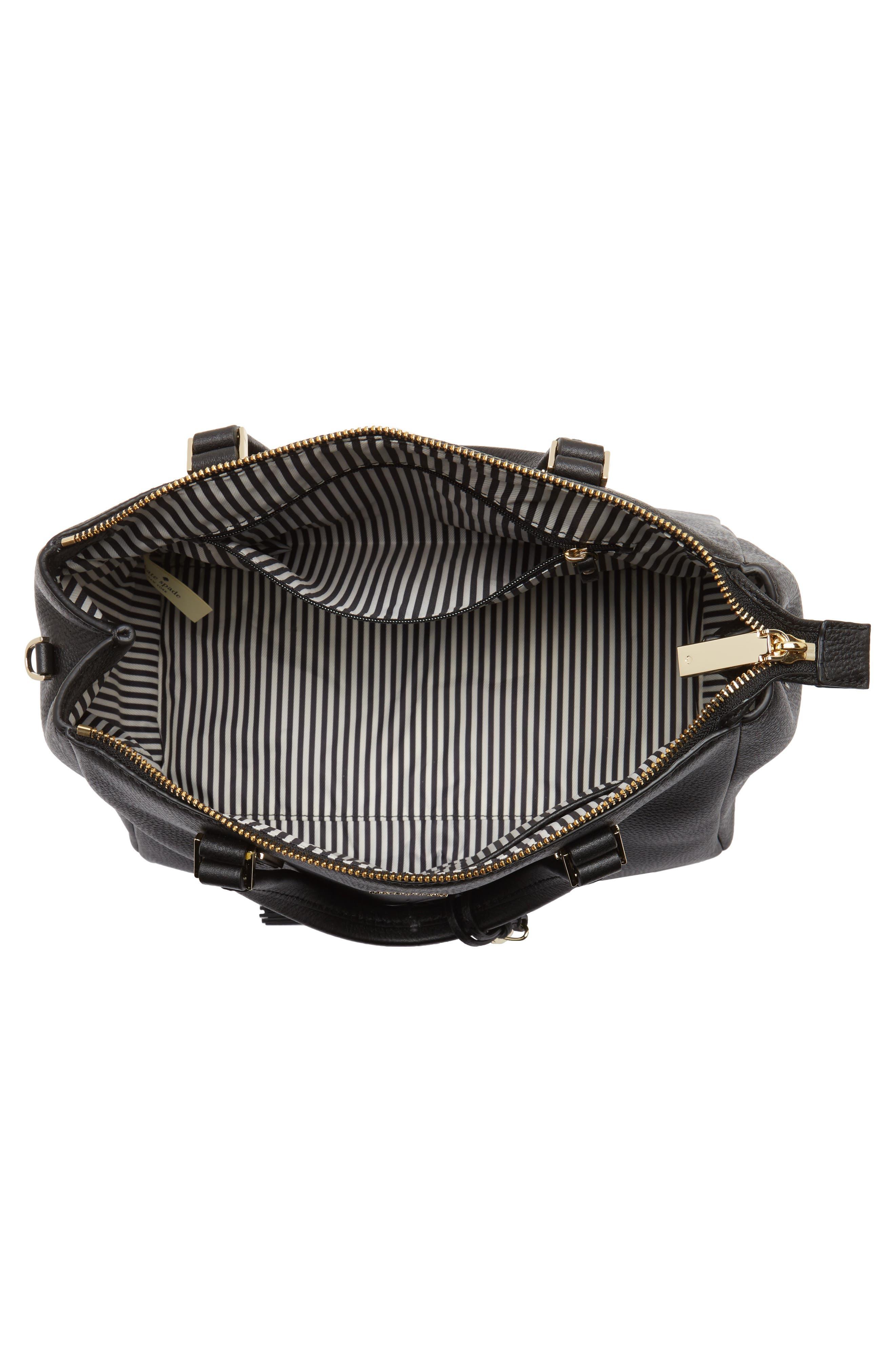 kingston drive - alena leather satchel,                             Alternate thumbnail 3, color,                             Black