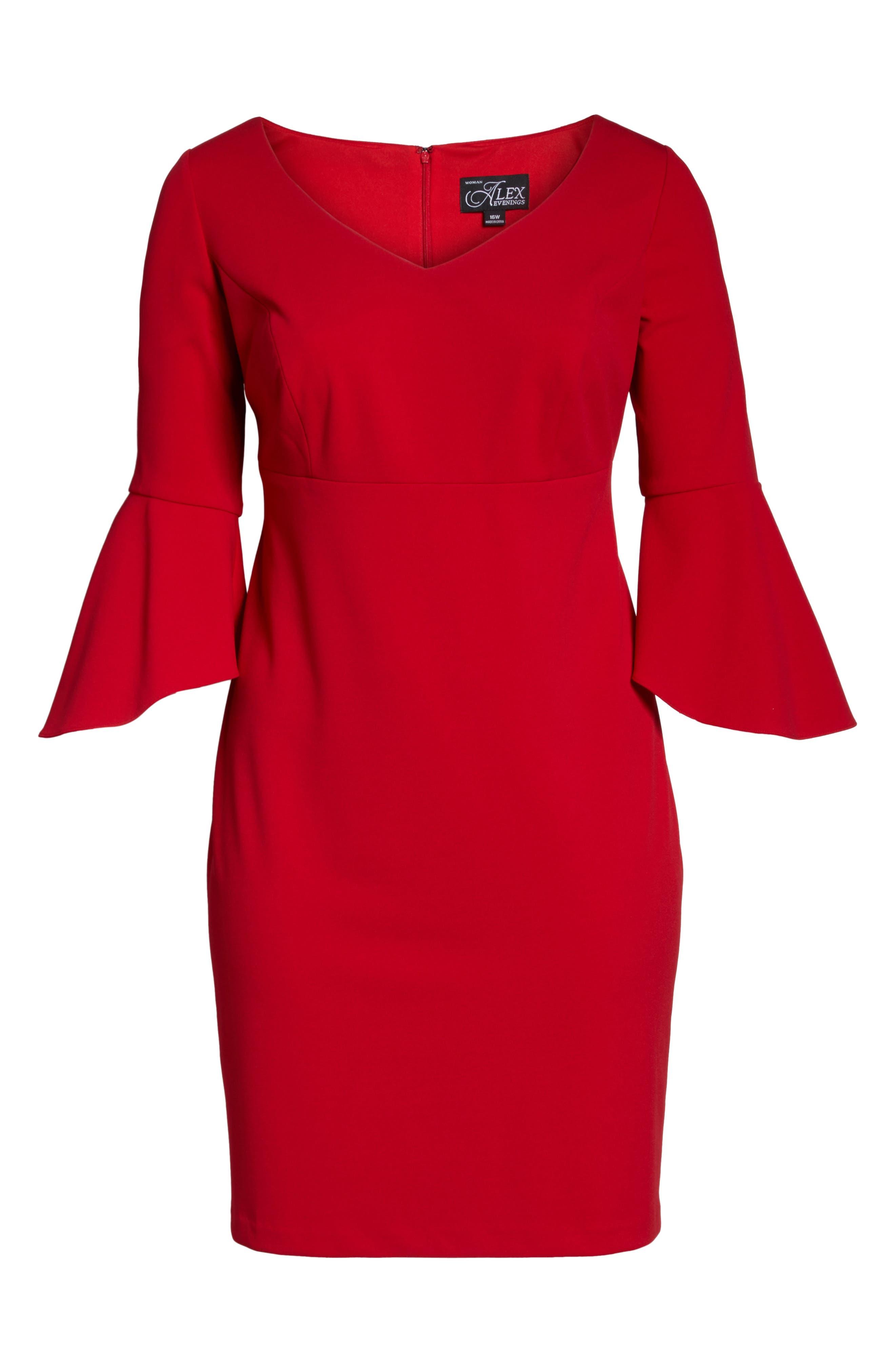 Bell Sleeve Sheath Dress,                             Alternate thumbnail 6, color,                             Apple Red