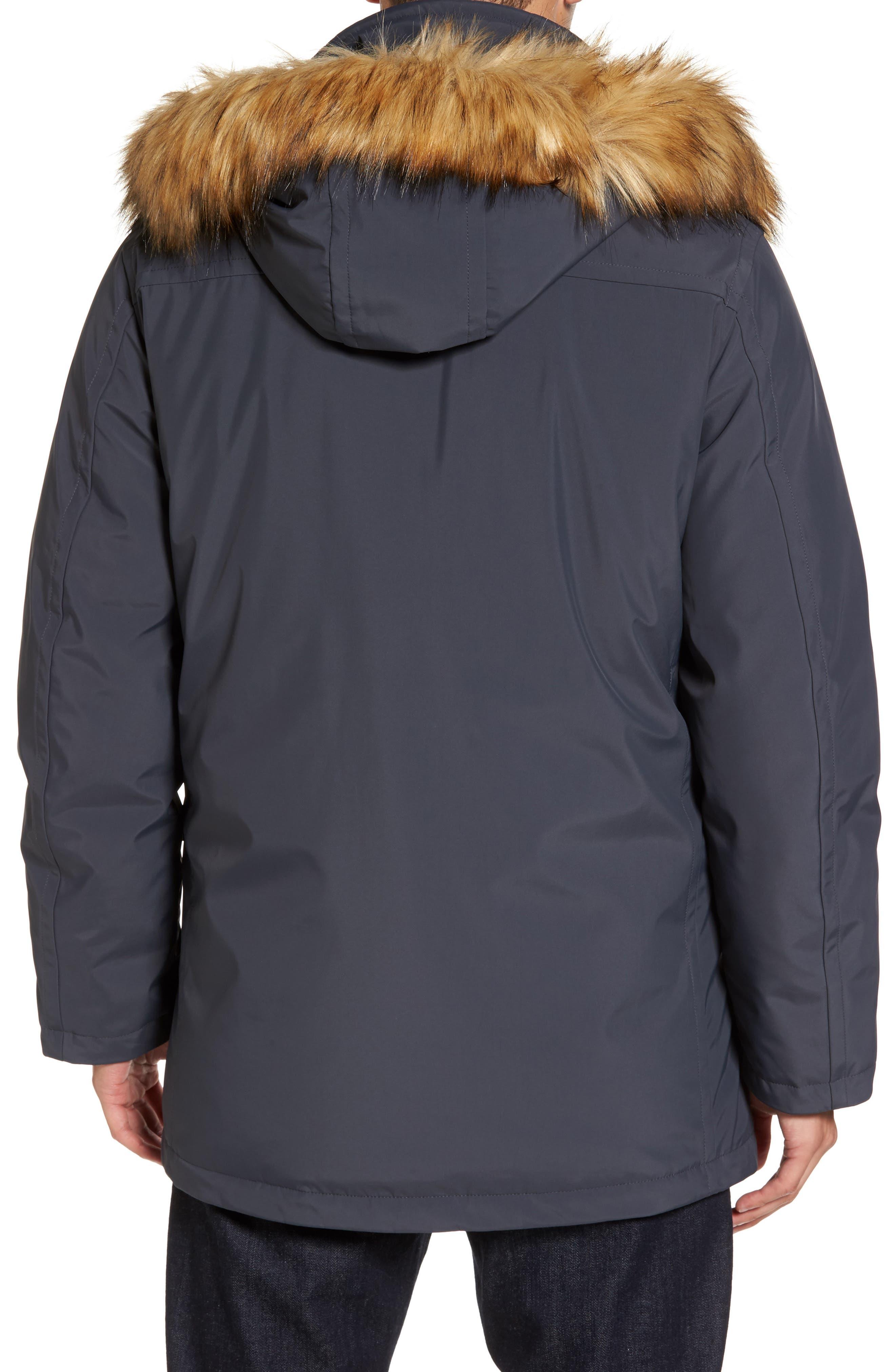 Down Jacket with Faux Fur Trim,                             Alternate thumbnail 2, color,                             Magnet