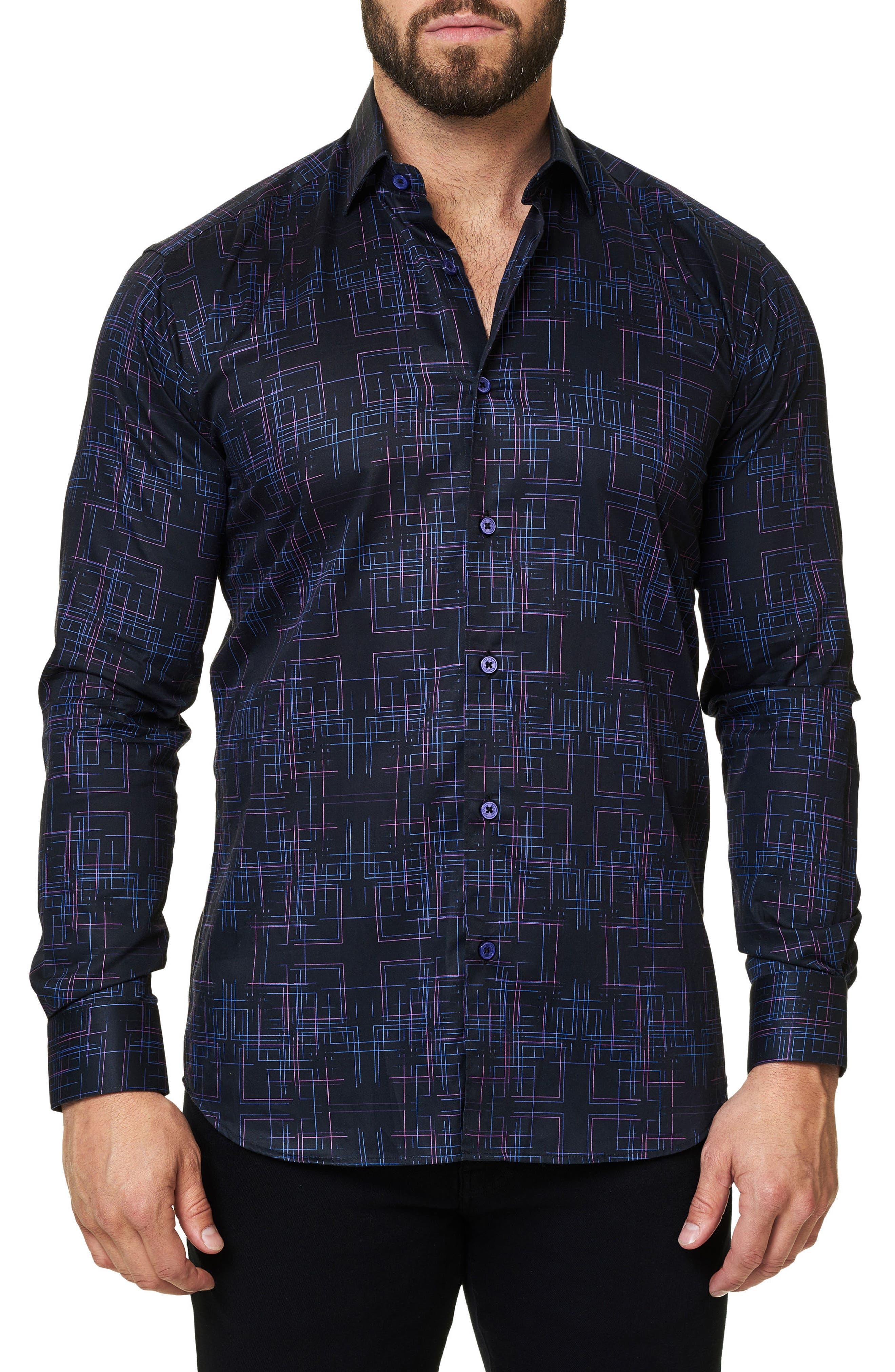 Regular Fit Geo Print Sport Shirt,                         Main,                         color, Black