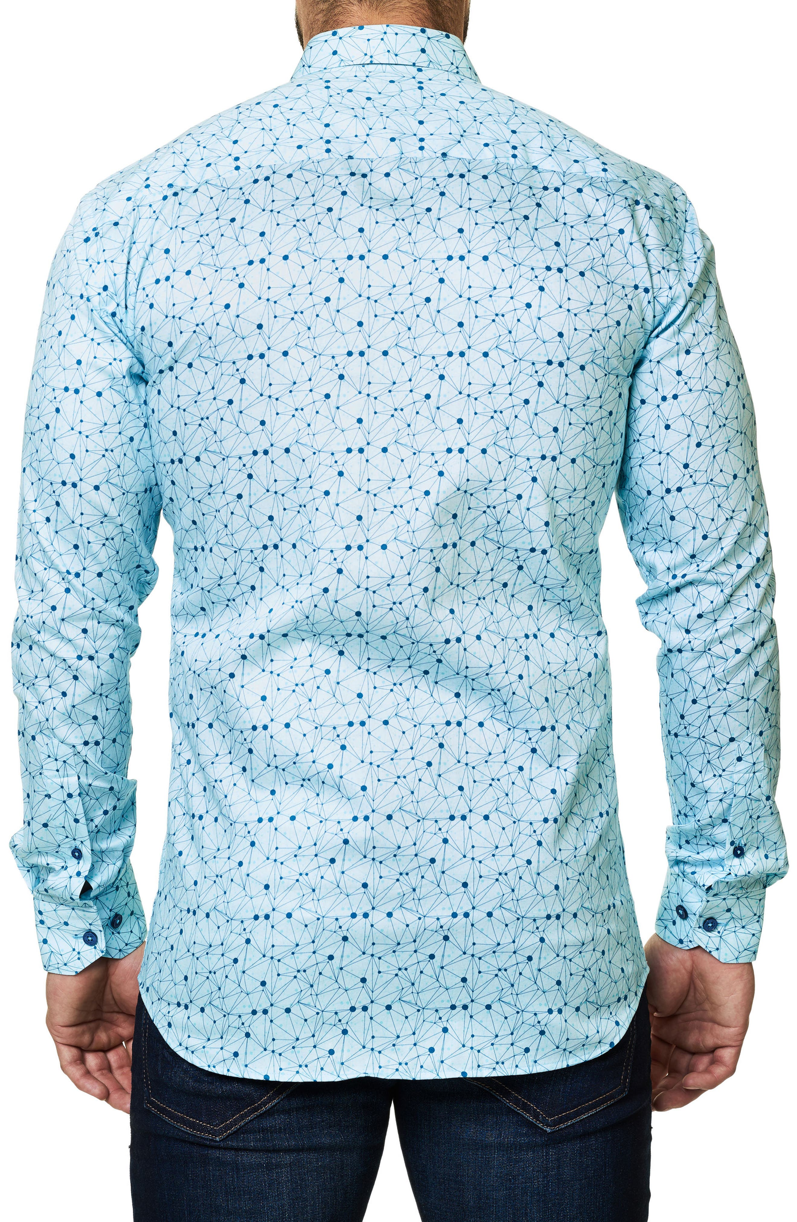 Geo Print Sport Shirt,                             Alternate thumbnail 2, color,                             Blue