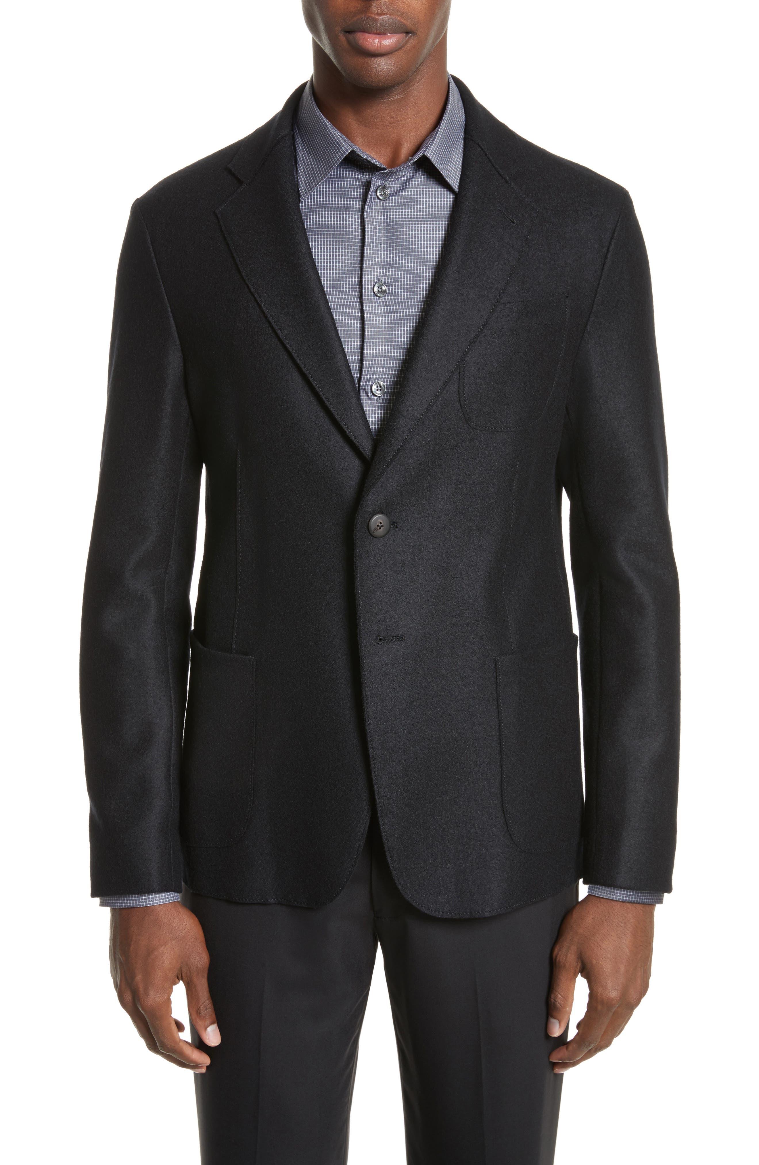 Regular Fit Jersey Sport Coat,                         Main,                         color, Black
