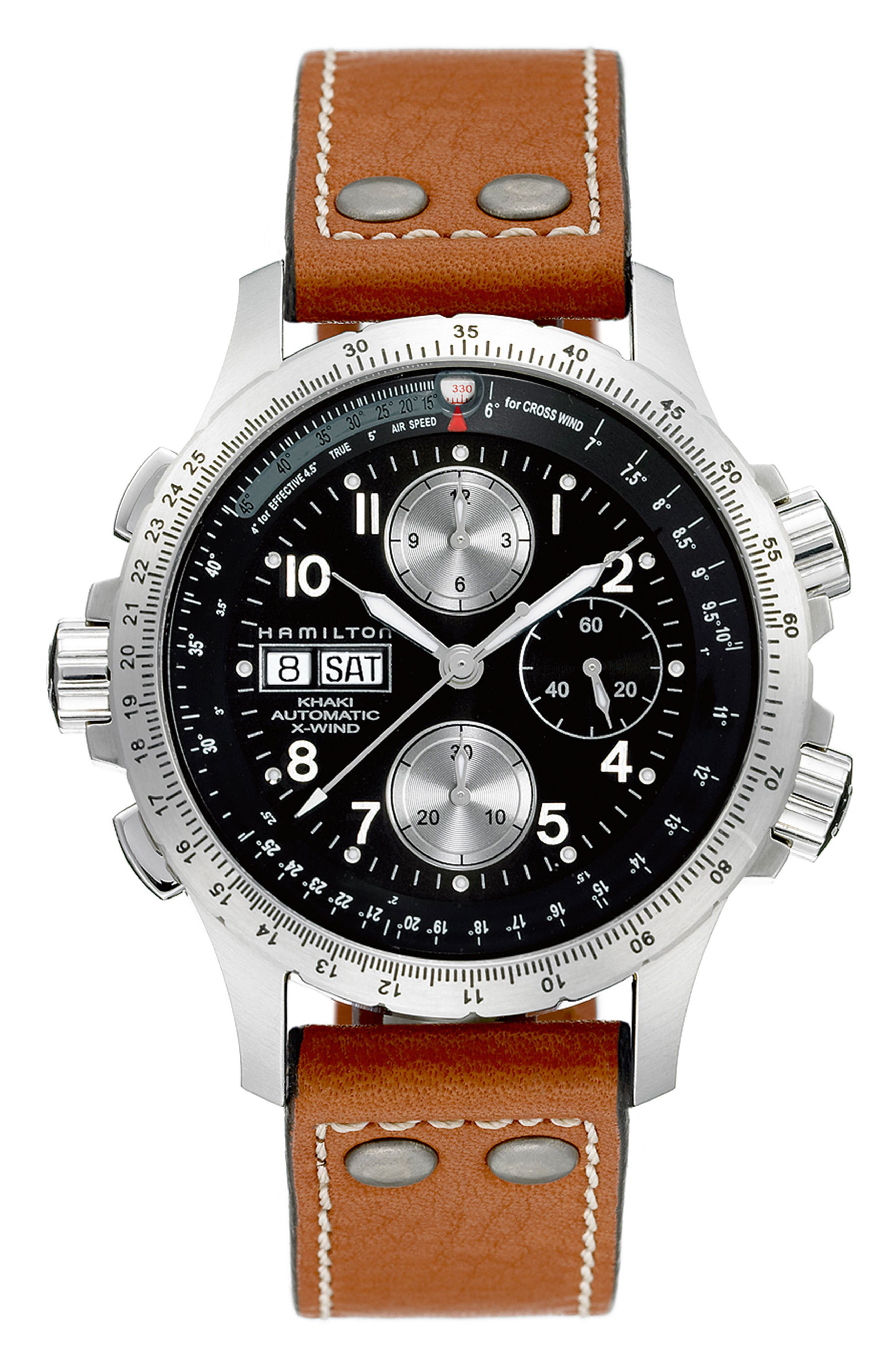 Khaki Aviation X-Wind Automatic Chronograph Leather Strap Watch, 44mm,                         Main,                         color, Brown/ Black/ Silver