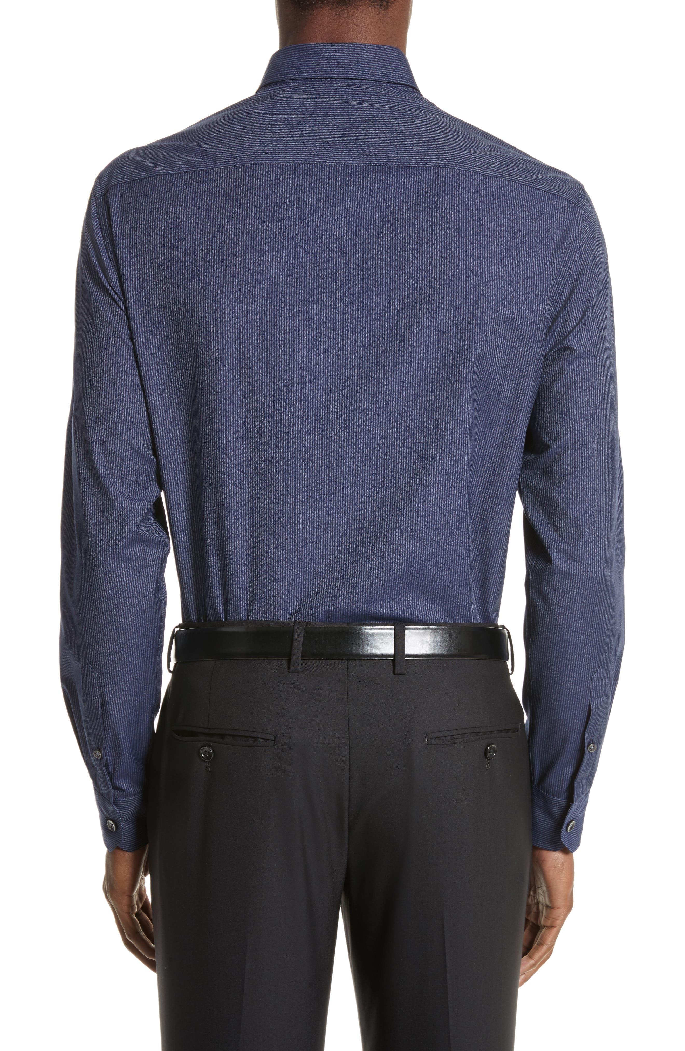 Regular Fit Pinstripe Sport Shirt,                             Alternate thumbnail 3, color,                             Striped Blue
