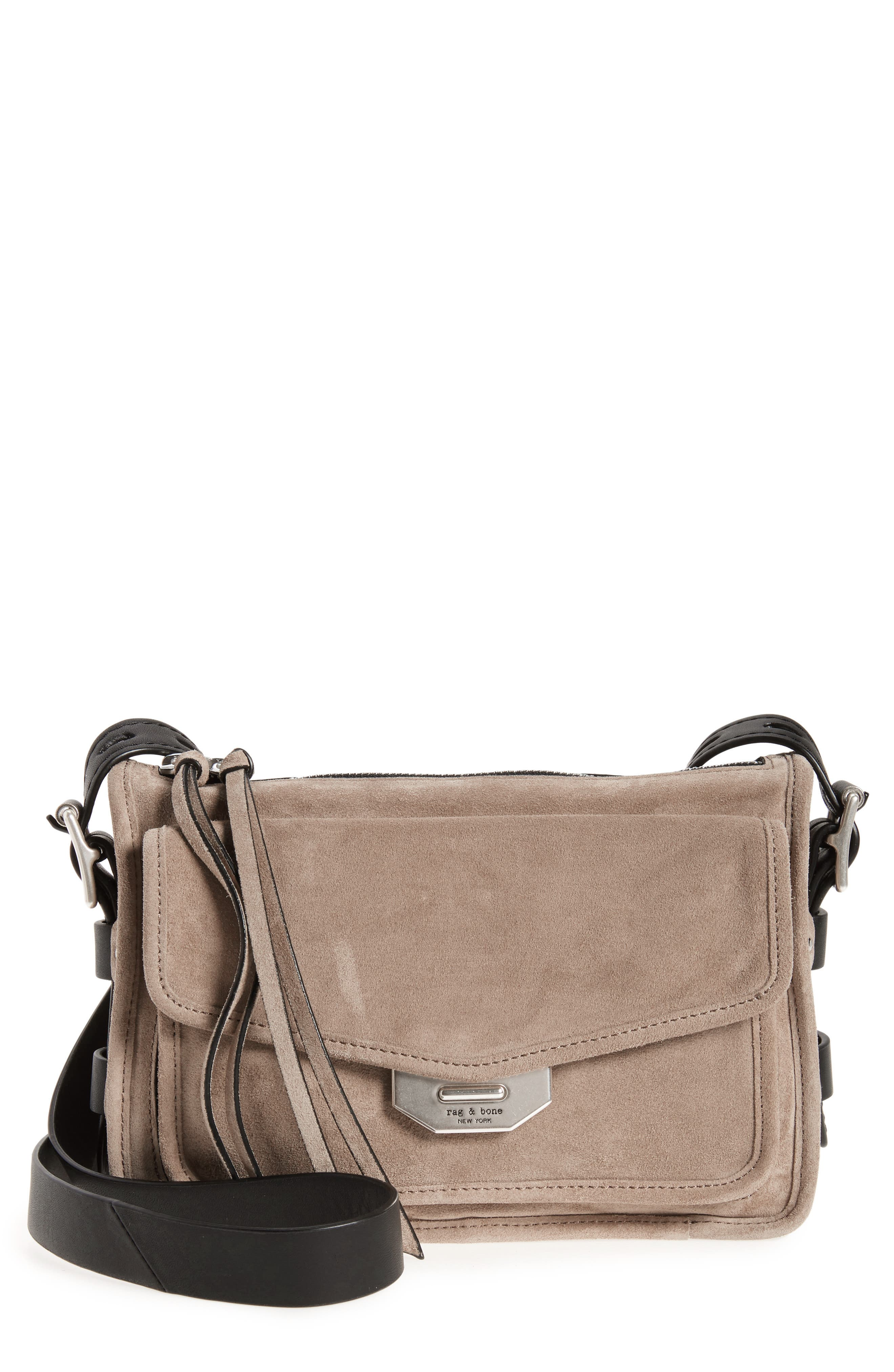 Small Leather Field Messenger Bag,                             Main thumbnail 1, color,                             Warm Grey Suede