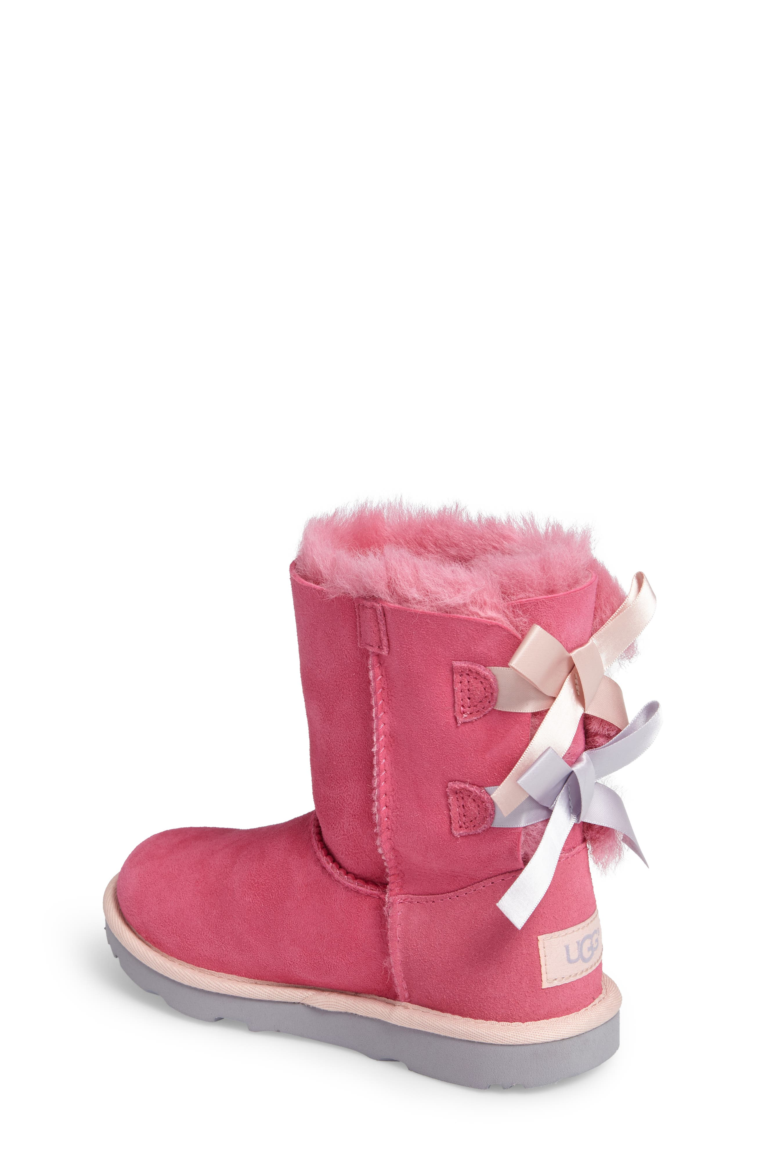 Bailey Bow II Water Resistant Genuine Shearling Boot,                             Alternate thumbnail 2, color,                             Pink/ Blue Suede