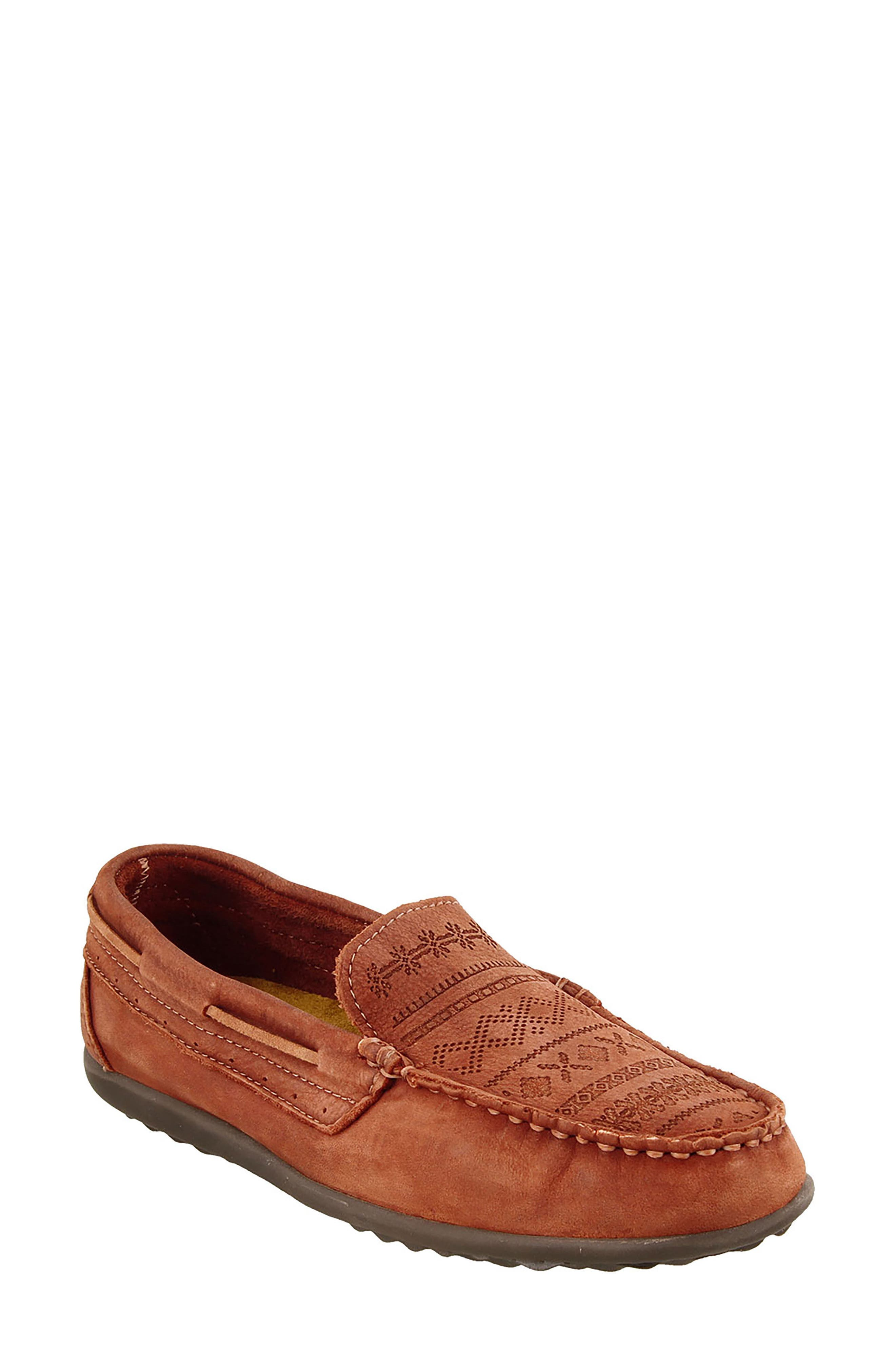 Heritage Moccasin Flat,                         Main,                         color, Spice Red Leather