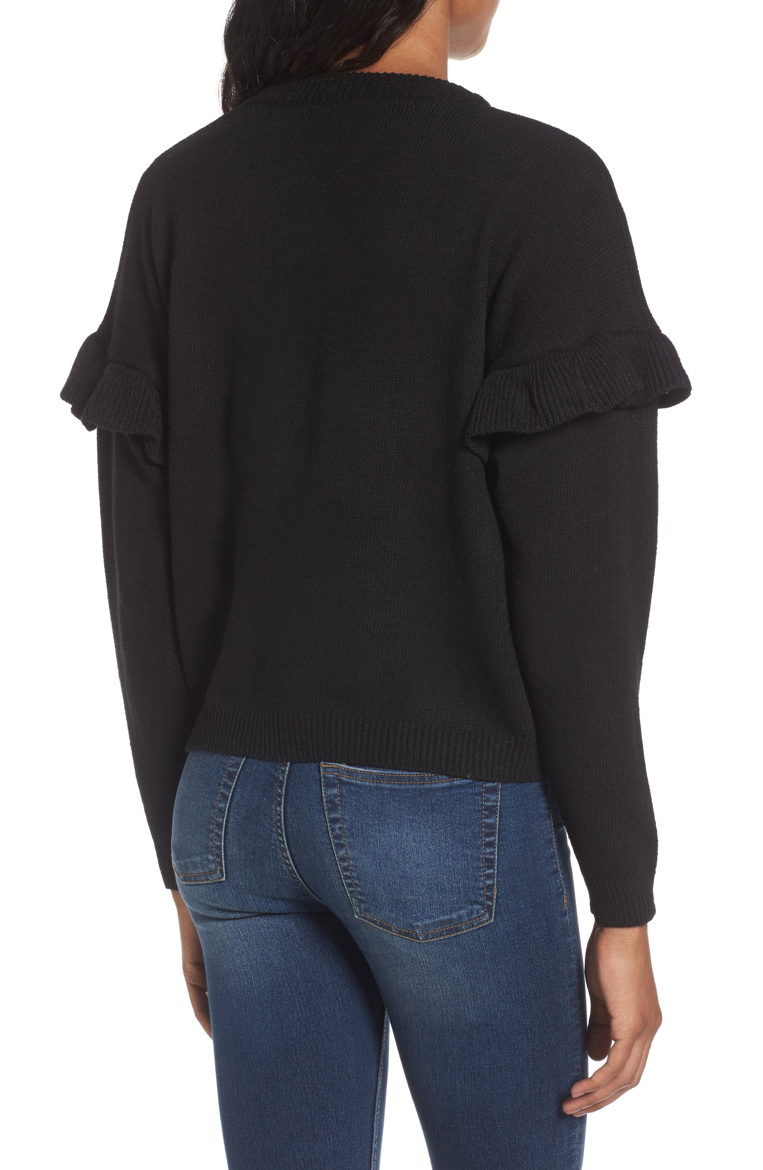 Alternate Image 2  - Woven Heart Ruffle Sleeve Embroidered Sweater