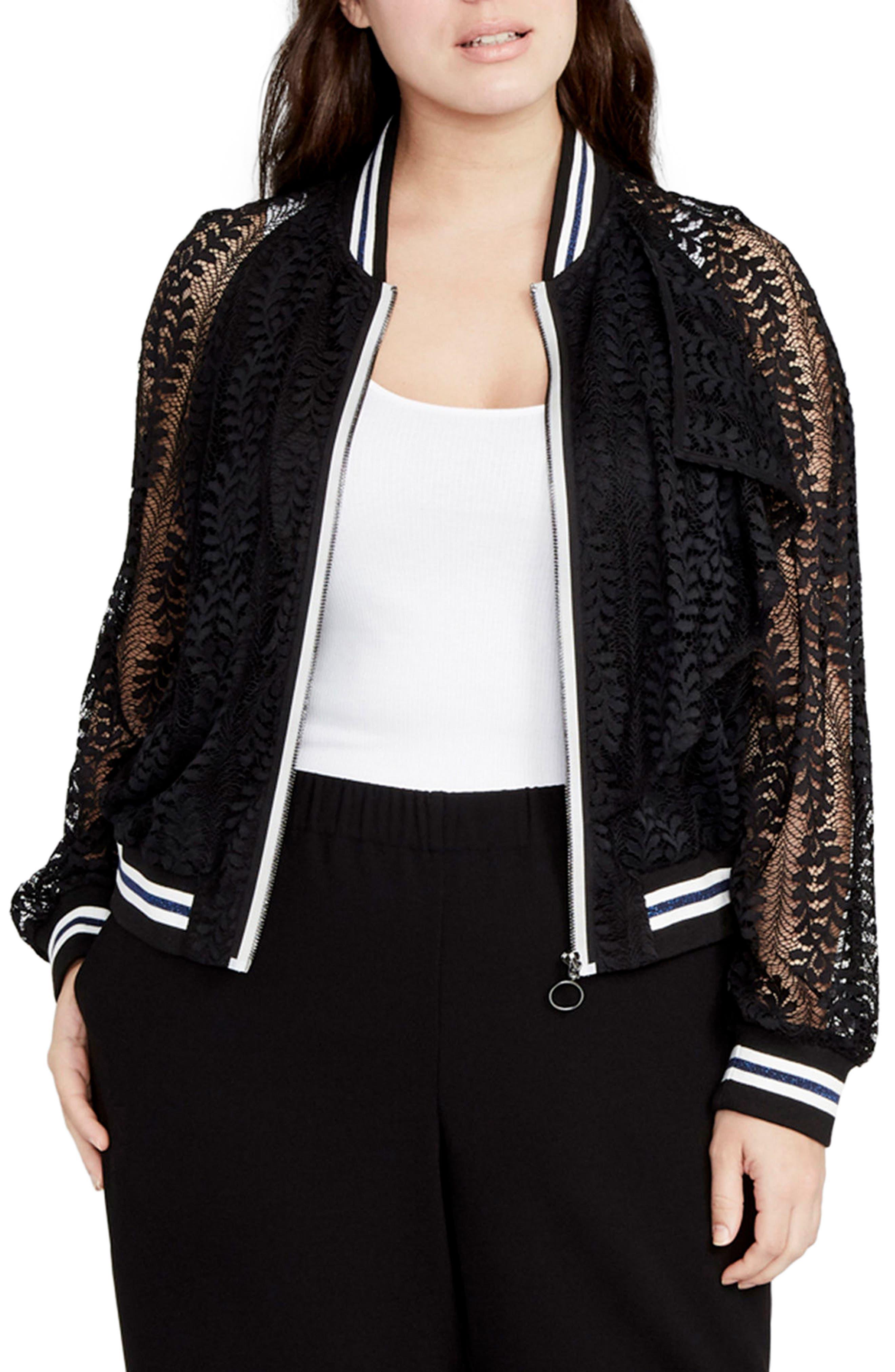 Main Image - RACHEL Rachel Roy Lace Bomber Jacket (Plus Size)
