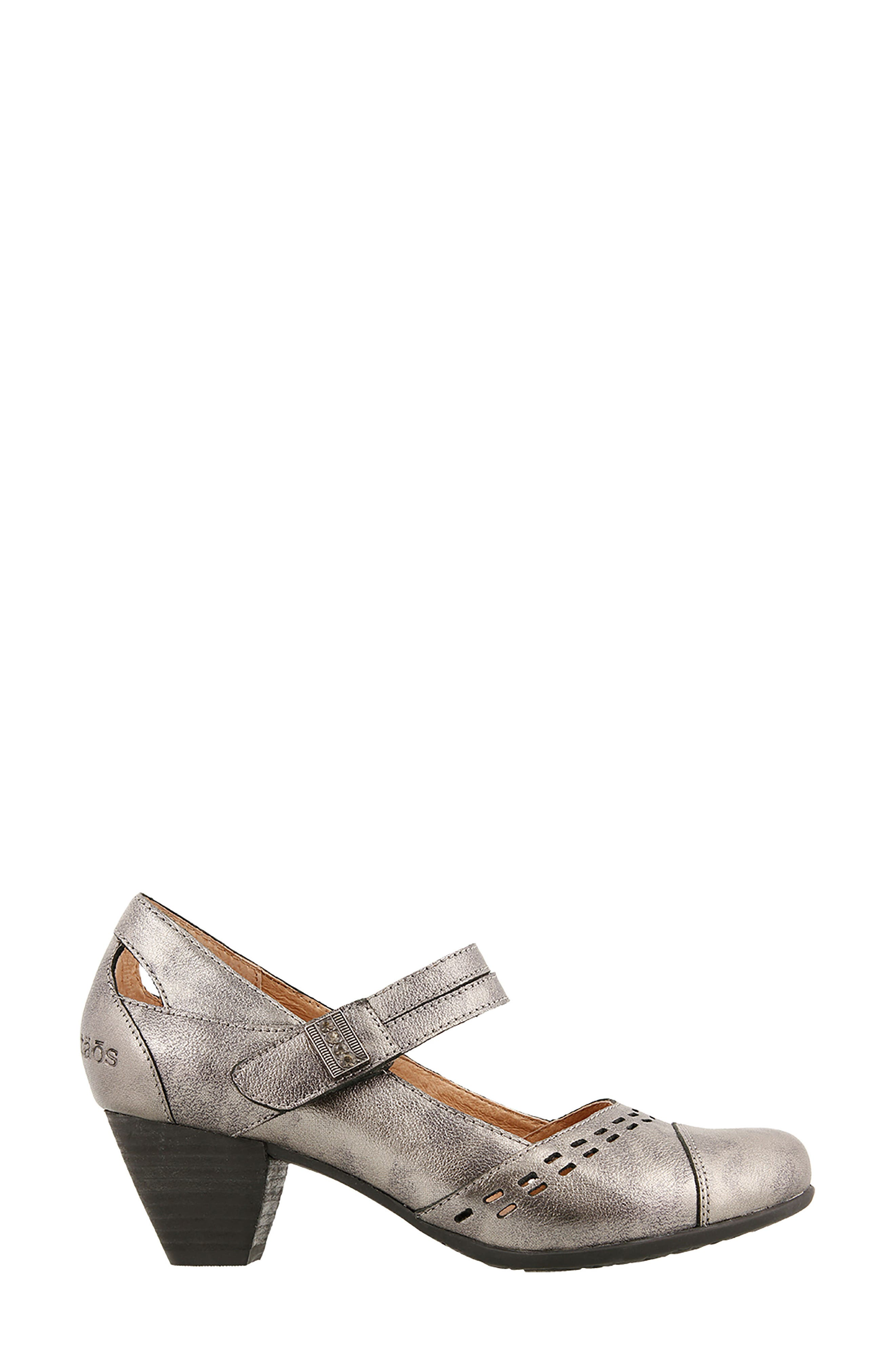 Stunner Laser Cutout Mary Jane Pump,                             Alternate thumbnail 3, color,                             Pewter Leather