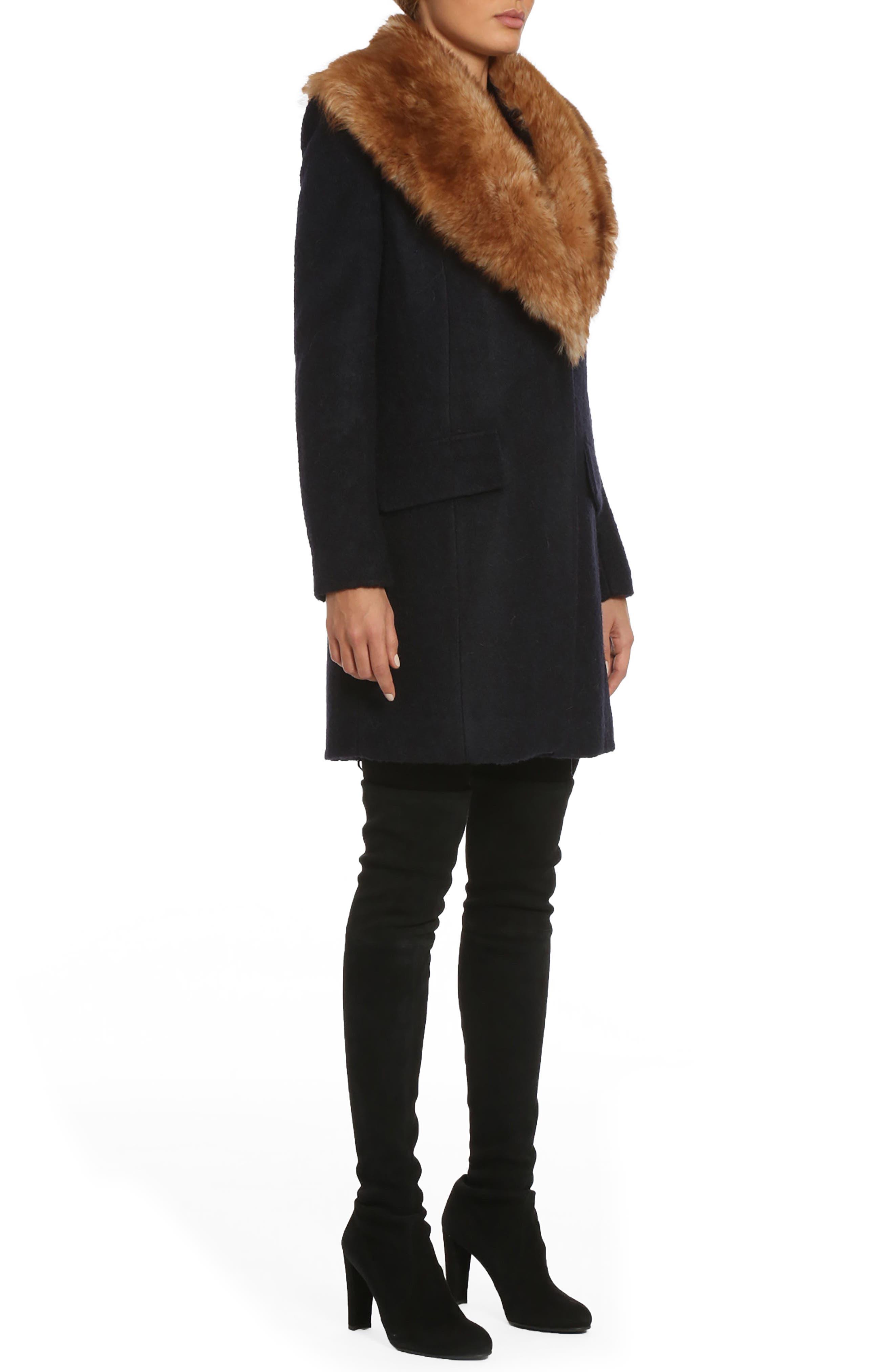 Alternate Image 3  - Belle Badgley Mischka 'Holly' Faux Fur Collar Bouclé Coat