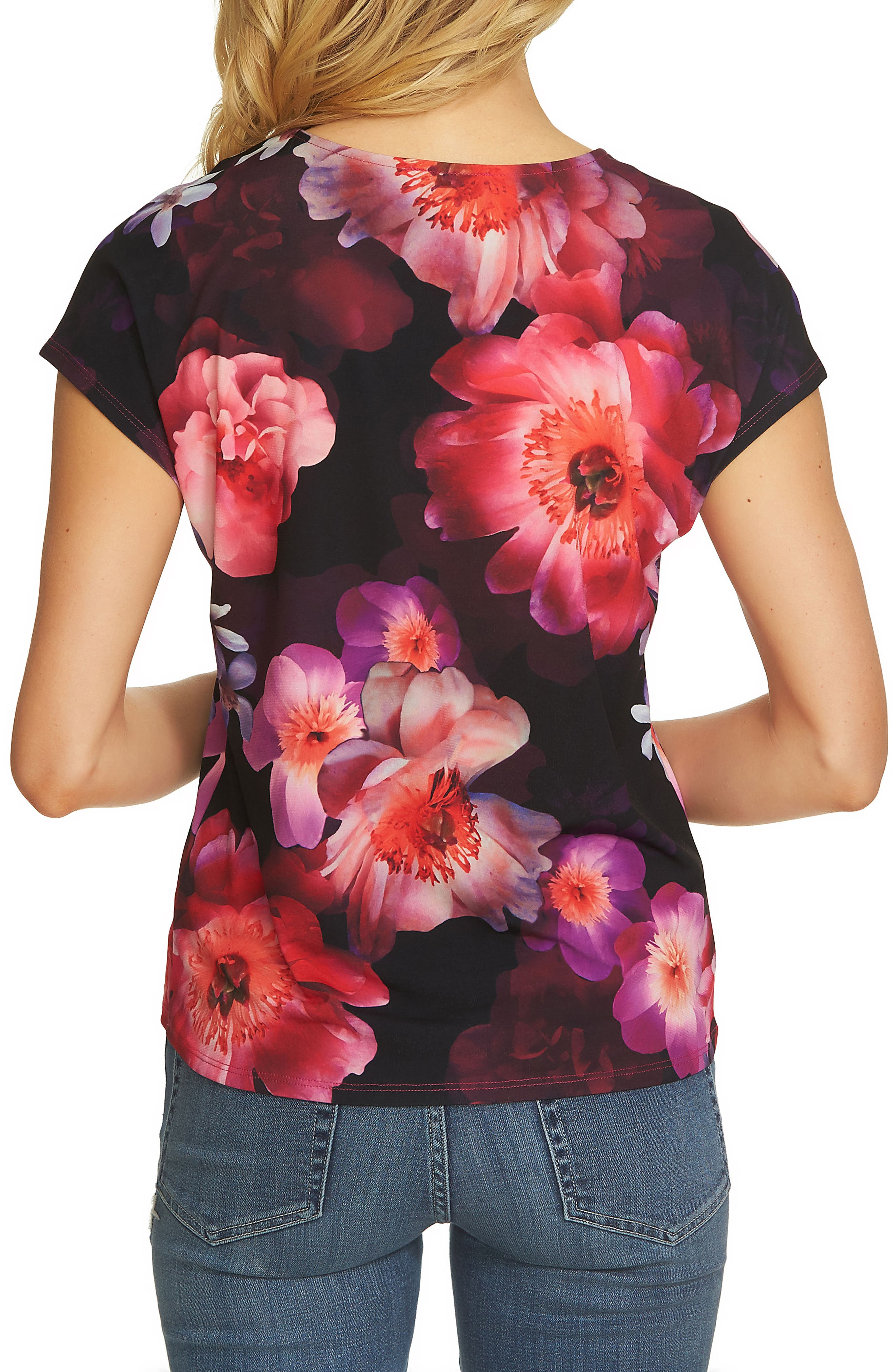 Alternate Image 2  - CeCe Floral Knit Tee