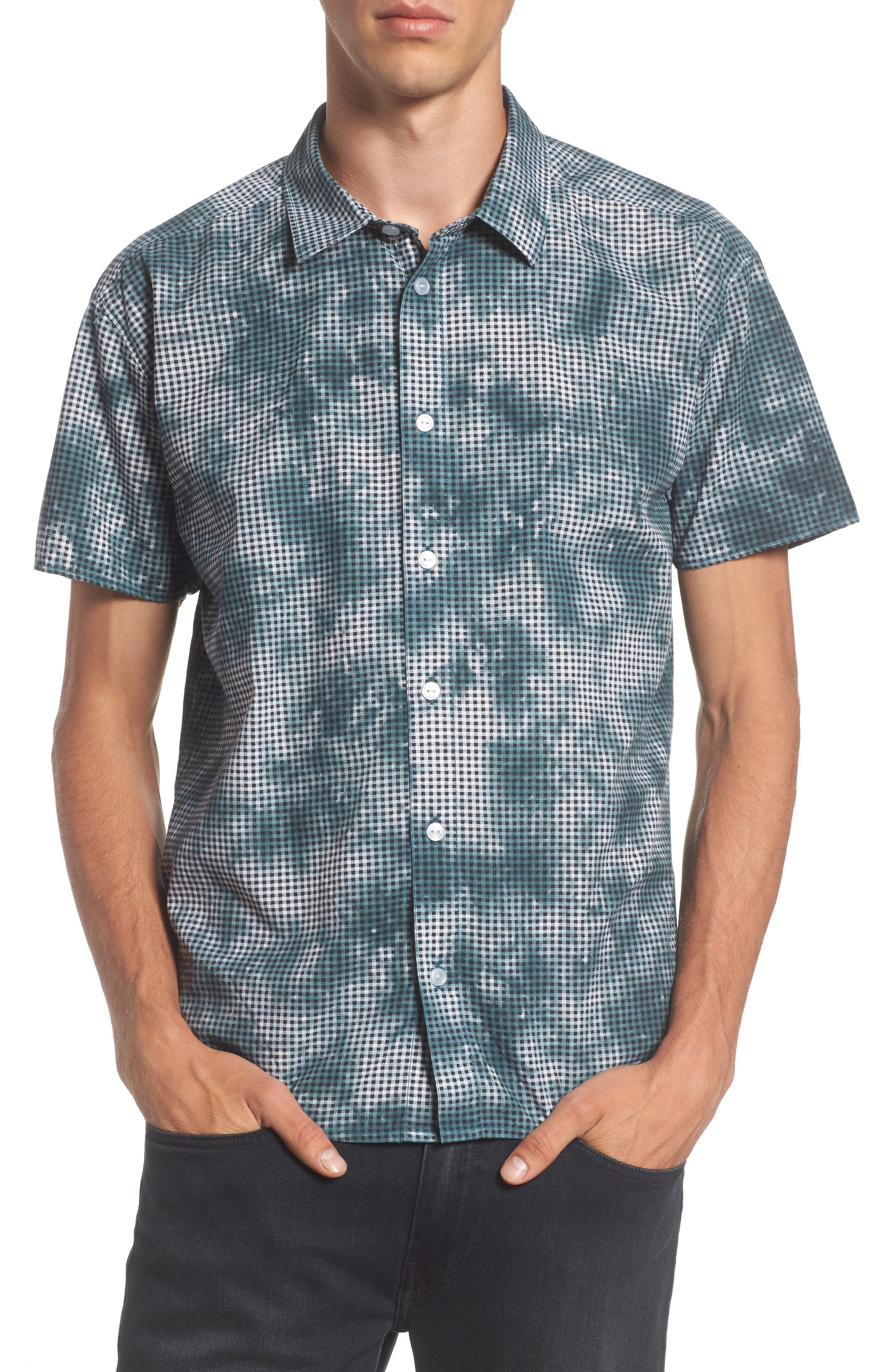 Alternate Image 1 Selected - RVCA Tie Dye Check Shirt