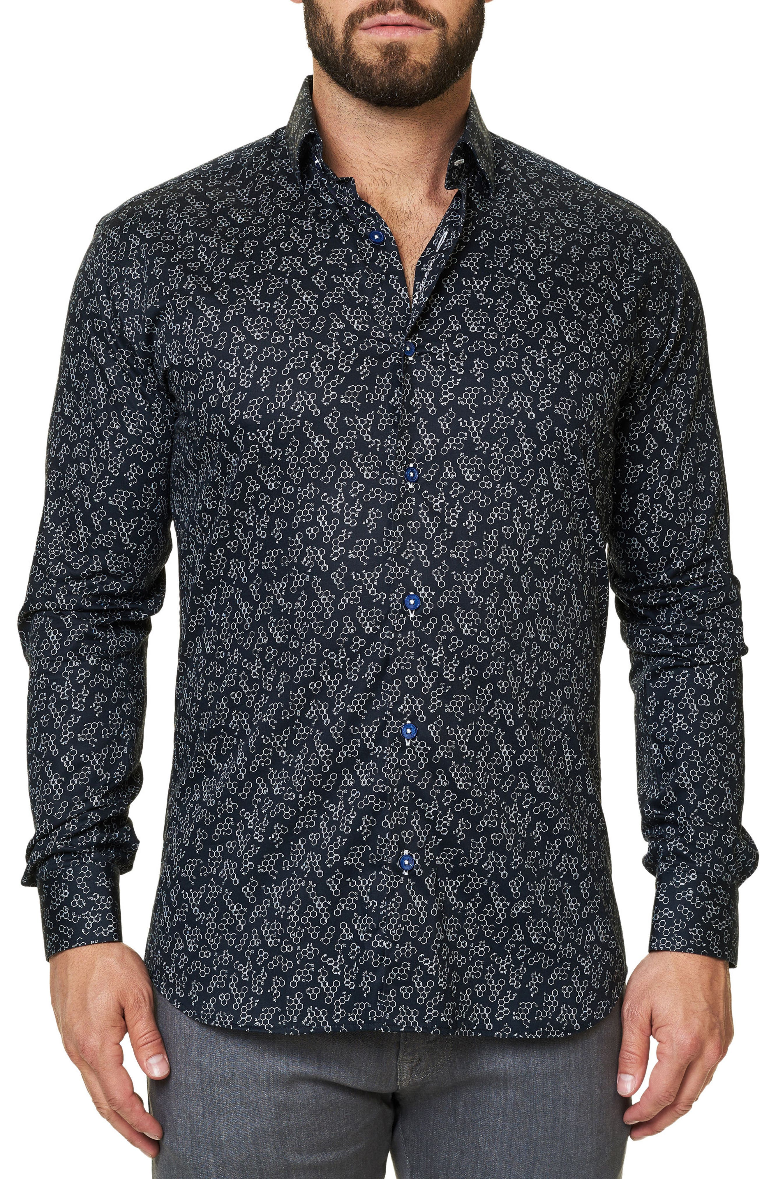Alternate Image 1 Selected - Maceoo Luxor Funky Chemistry Trim Fit Sport Shirt
