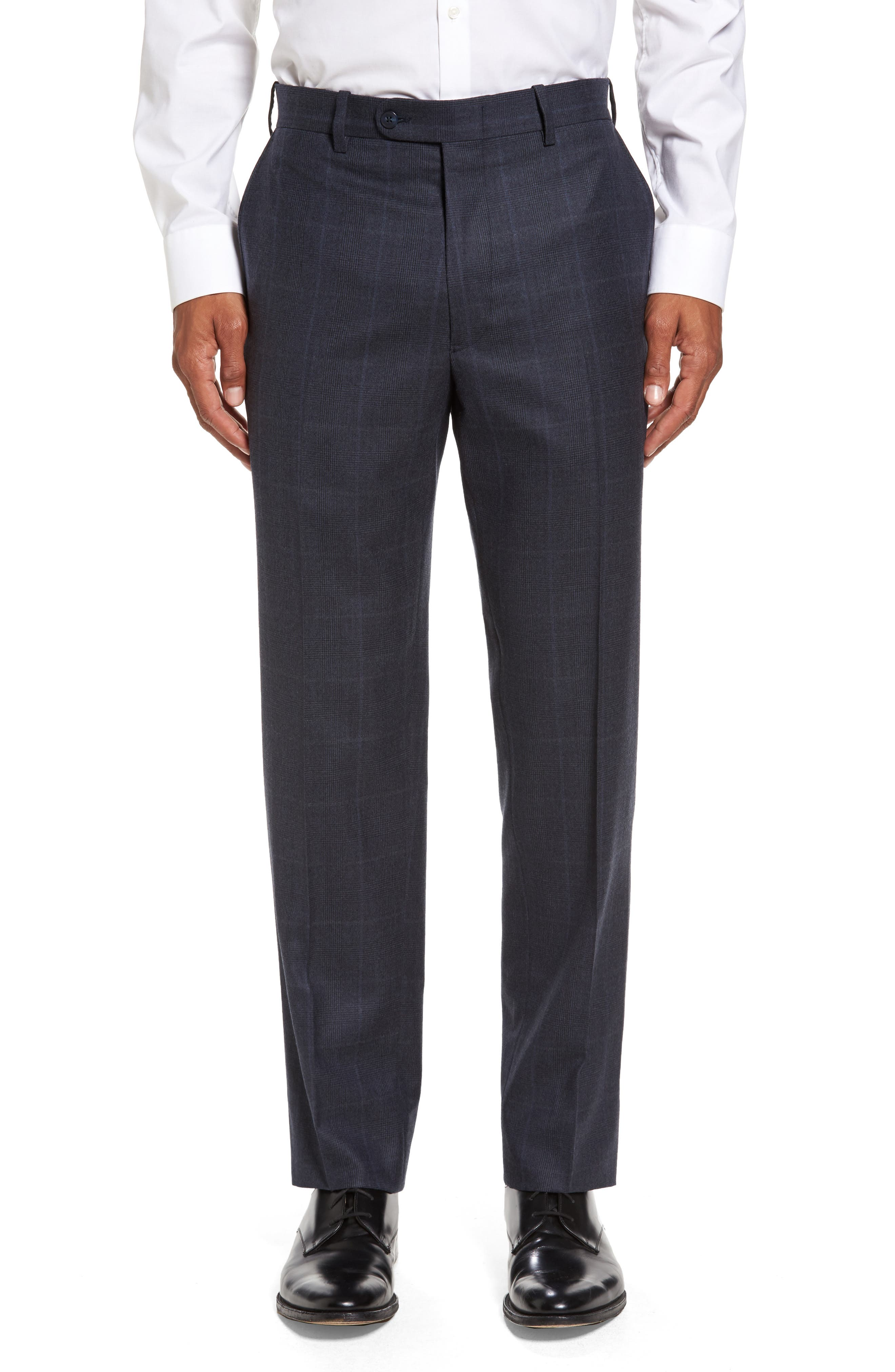 Flat Front Plaid Wool Trousers,                         Main,                         color, Navy