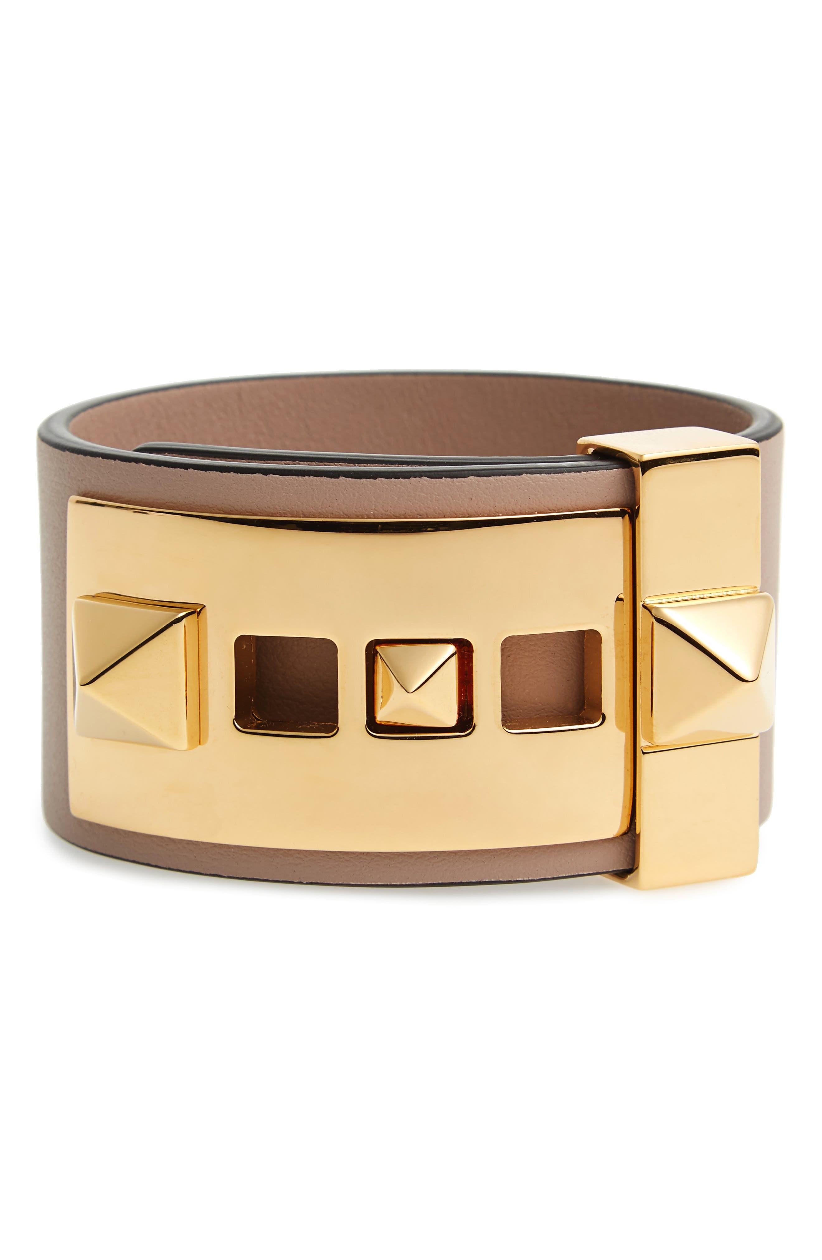 VALENTINO GARAVANI Rockstud Calfskin Leather Bracelet