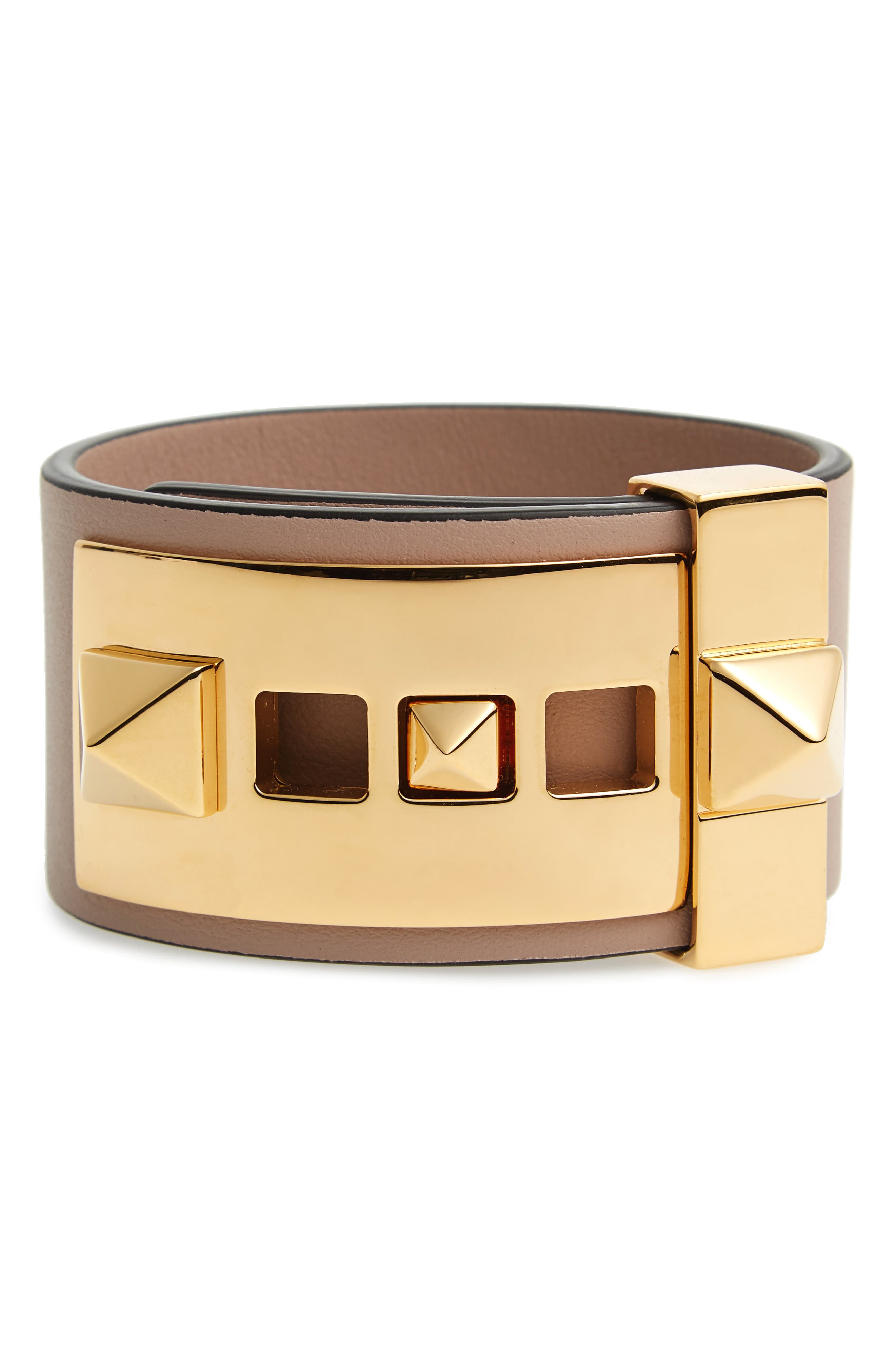 Main Image - VALENTINO GARAVANI Rockstud Calfskin Leather Bracelet