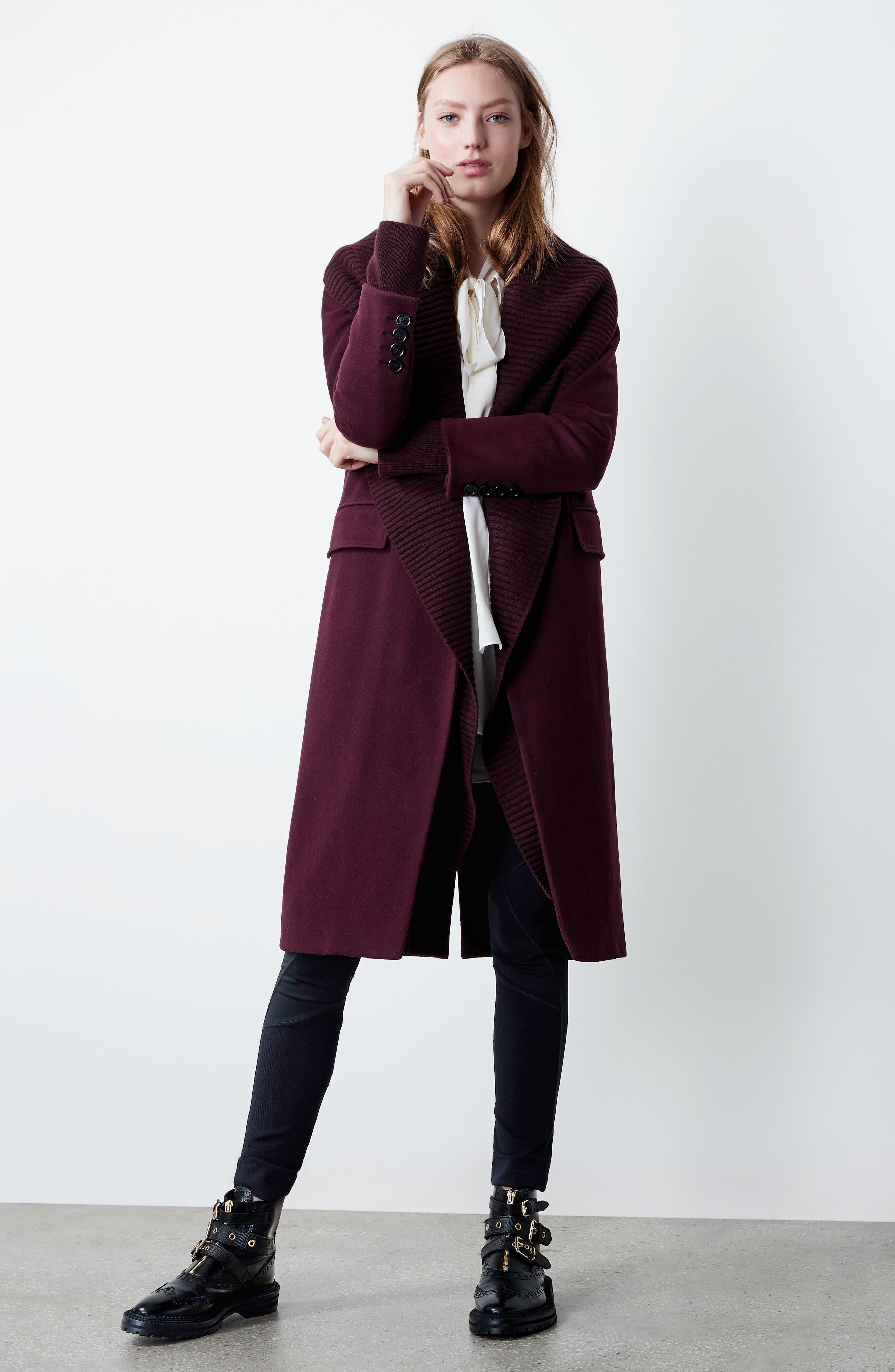 Cairndale Knit Trim Cashmere Coat,                             Alternate thumbnail 2, color,                             Black Currant