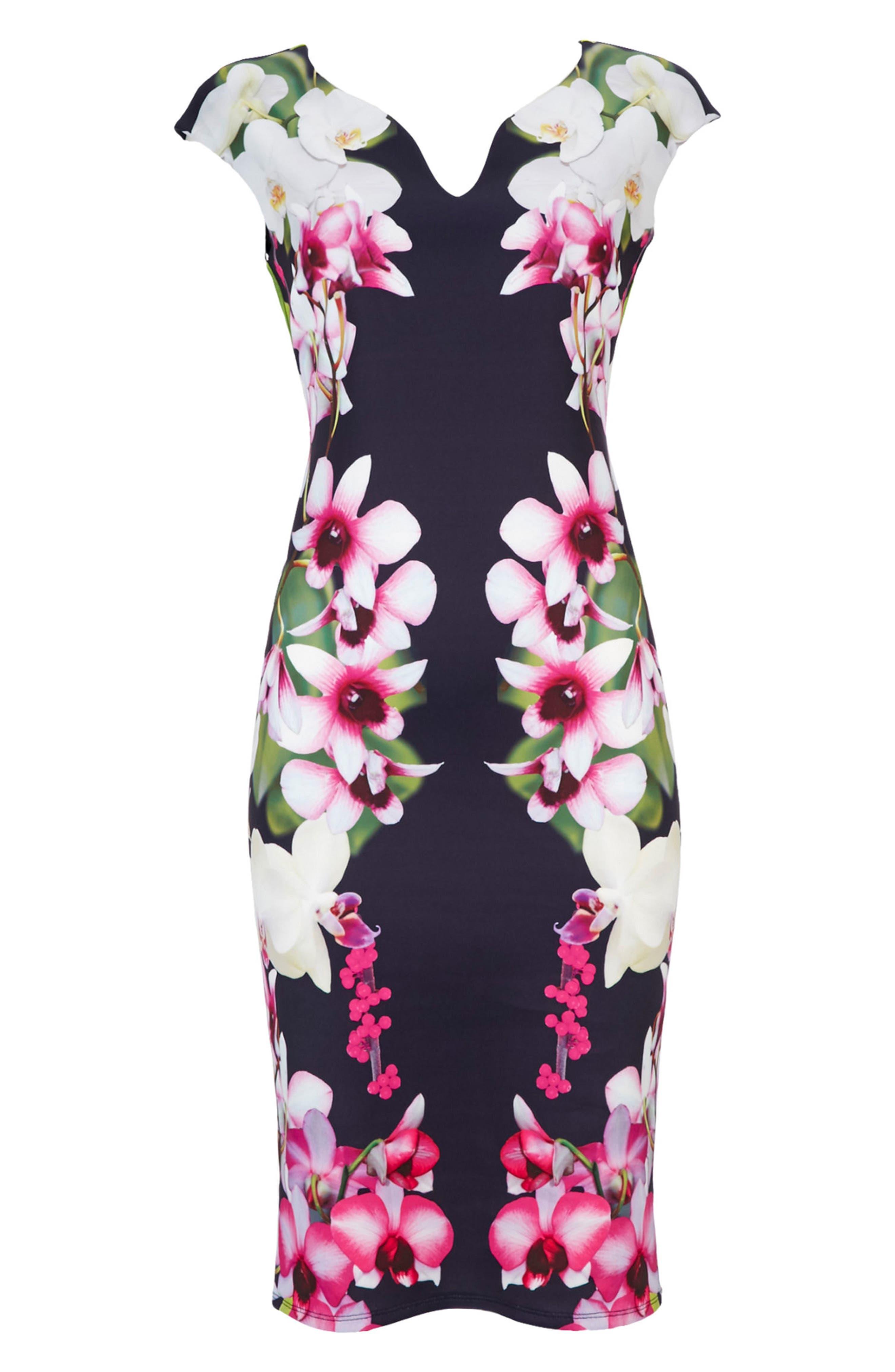 Alternate Image 5  - Wallis Summer Orchid Scuba Sheath Dress