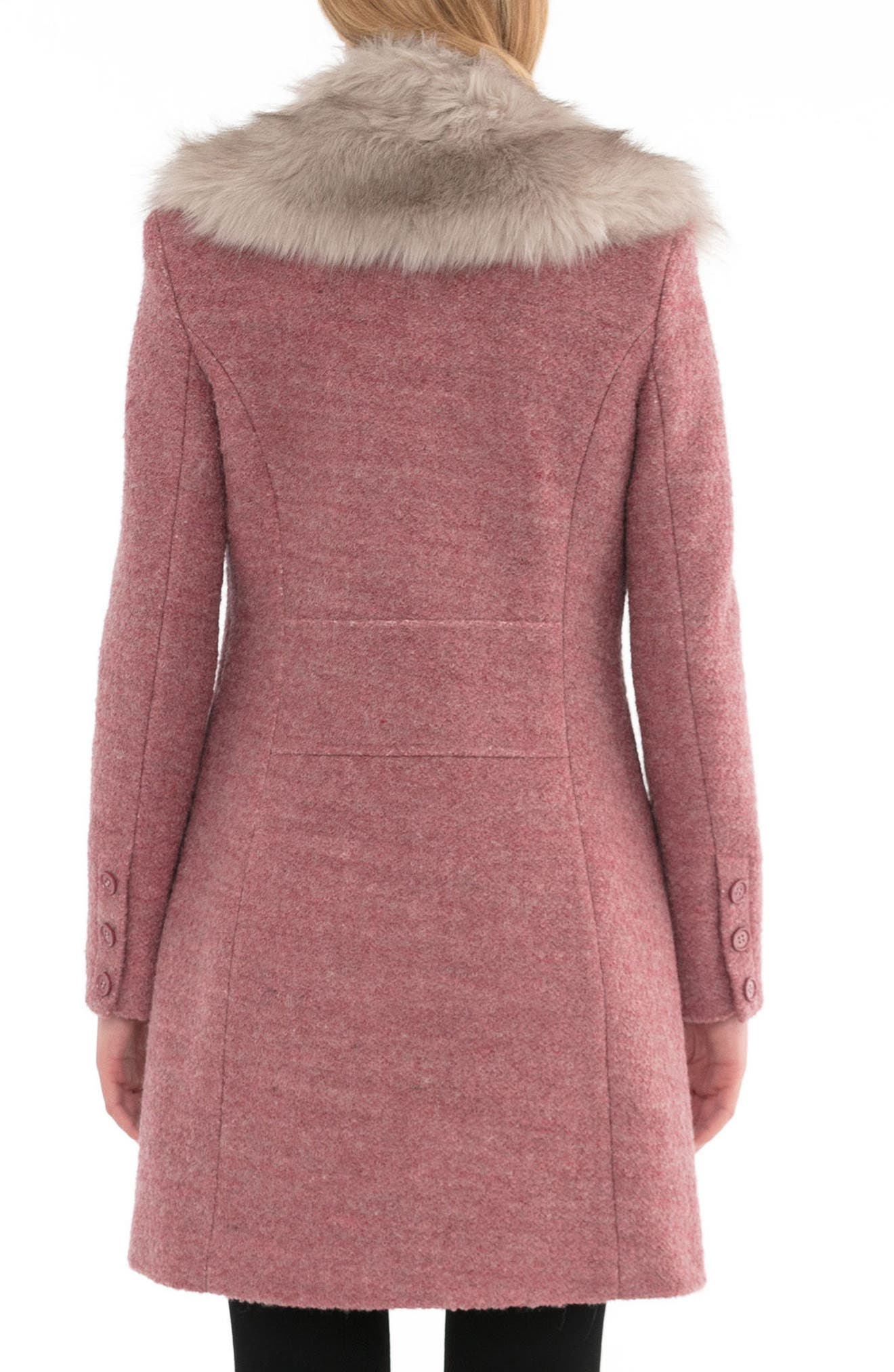 Alternate Image 2  - Belle Badgley Mischka 'Holly' Faux Fur Collar Bouclé Coat