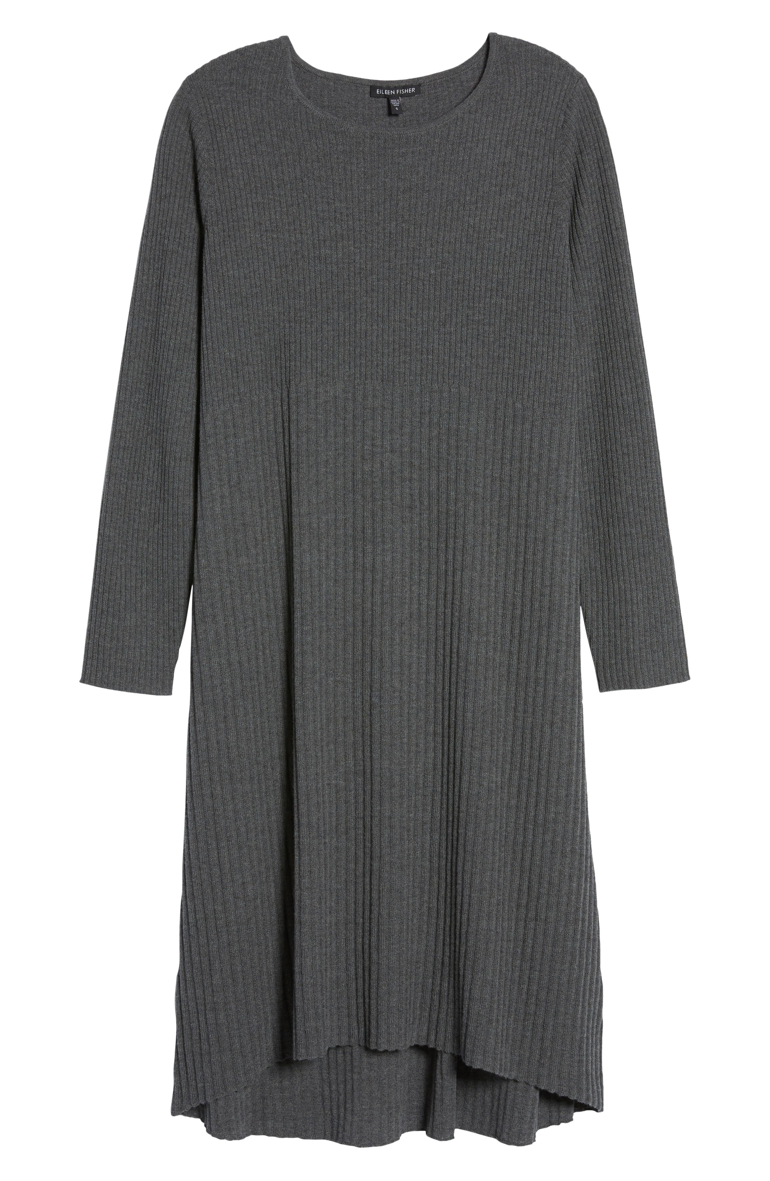 Ribbed Wool Sweater Dress,                             Alternate thumbnail 6, color,                             Bark