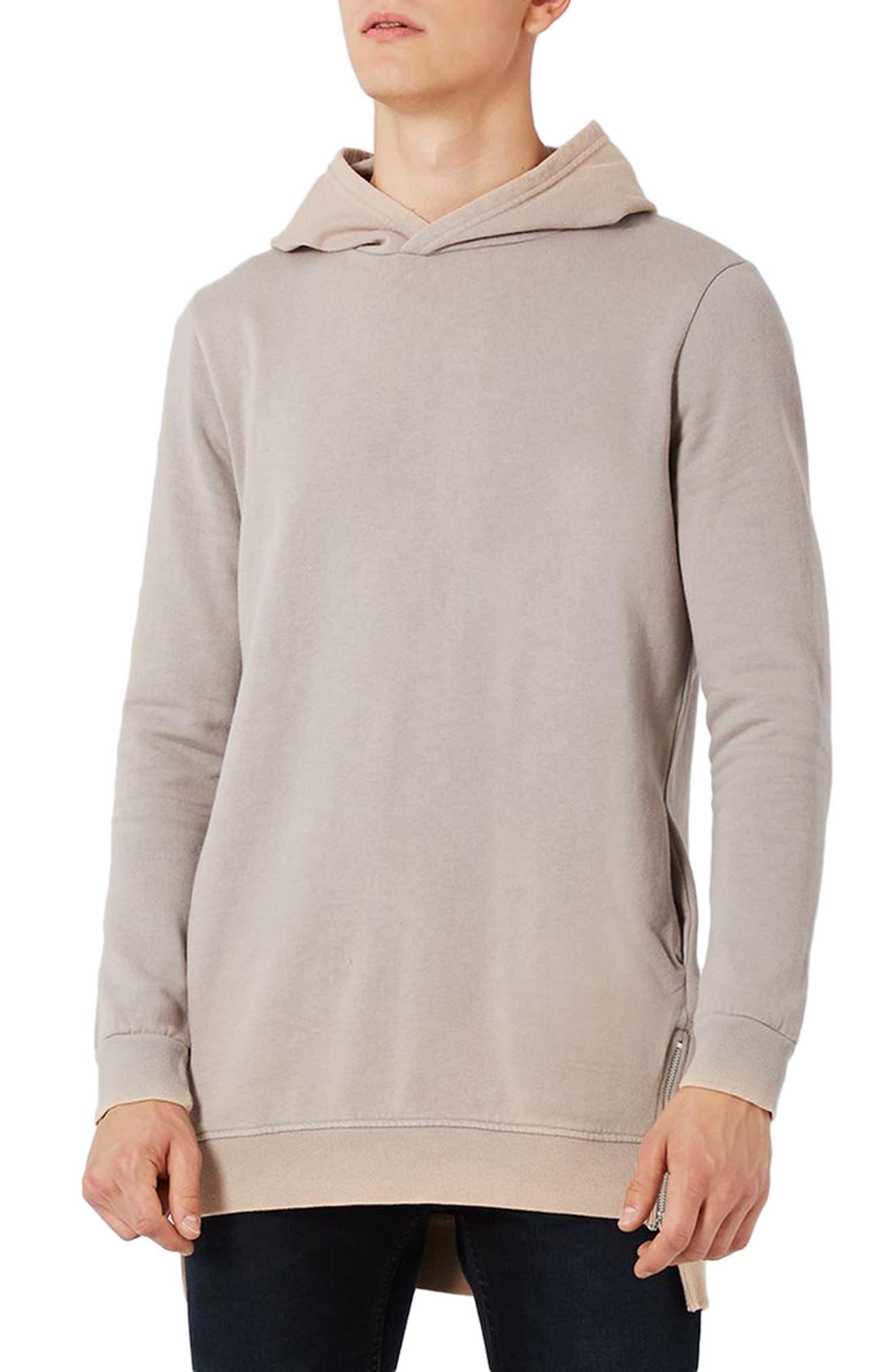 Pedro Side Zip Longline Hoodie,                         Main,                         color, Light Grey